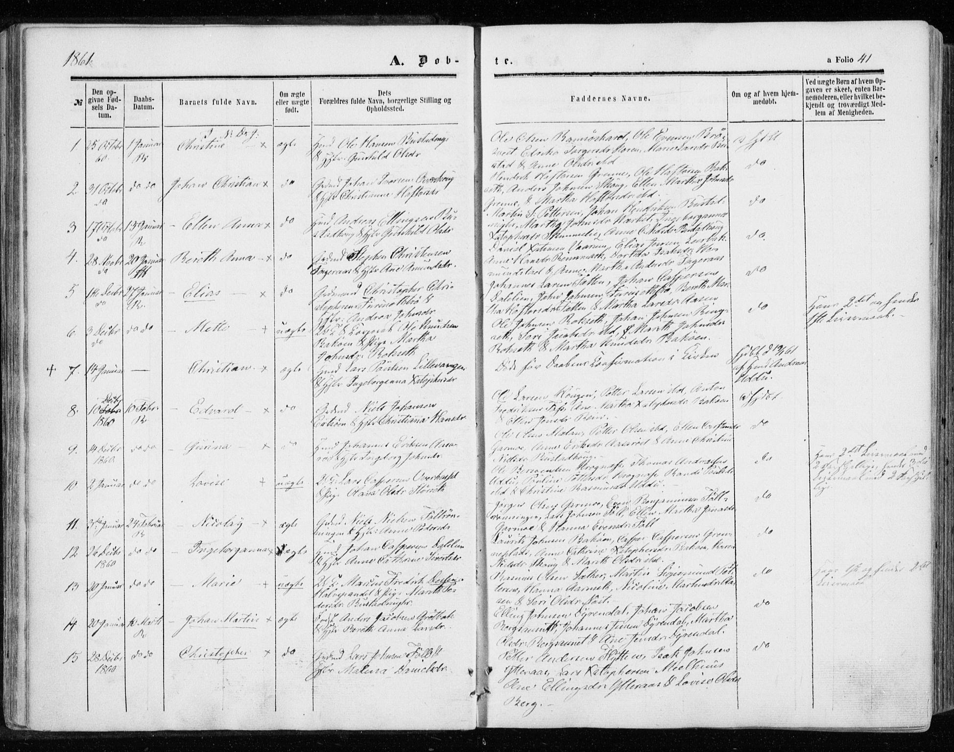 SAT, Ministerialprotokoller, klokkerbøker og fødselsregistre - Sør-Trøndelag, 646/L0612: Ministerialbok nr. 646A10, 1858-1869, s. 41