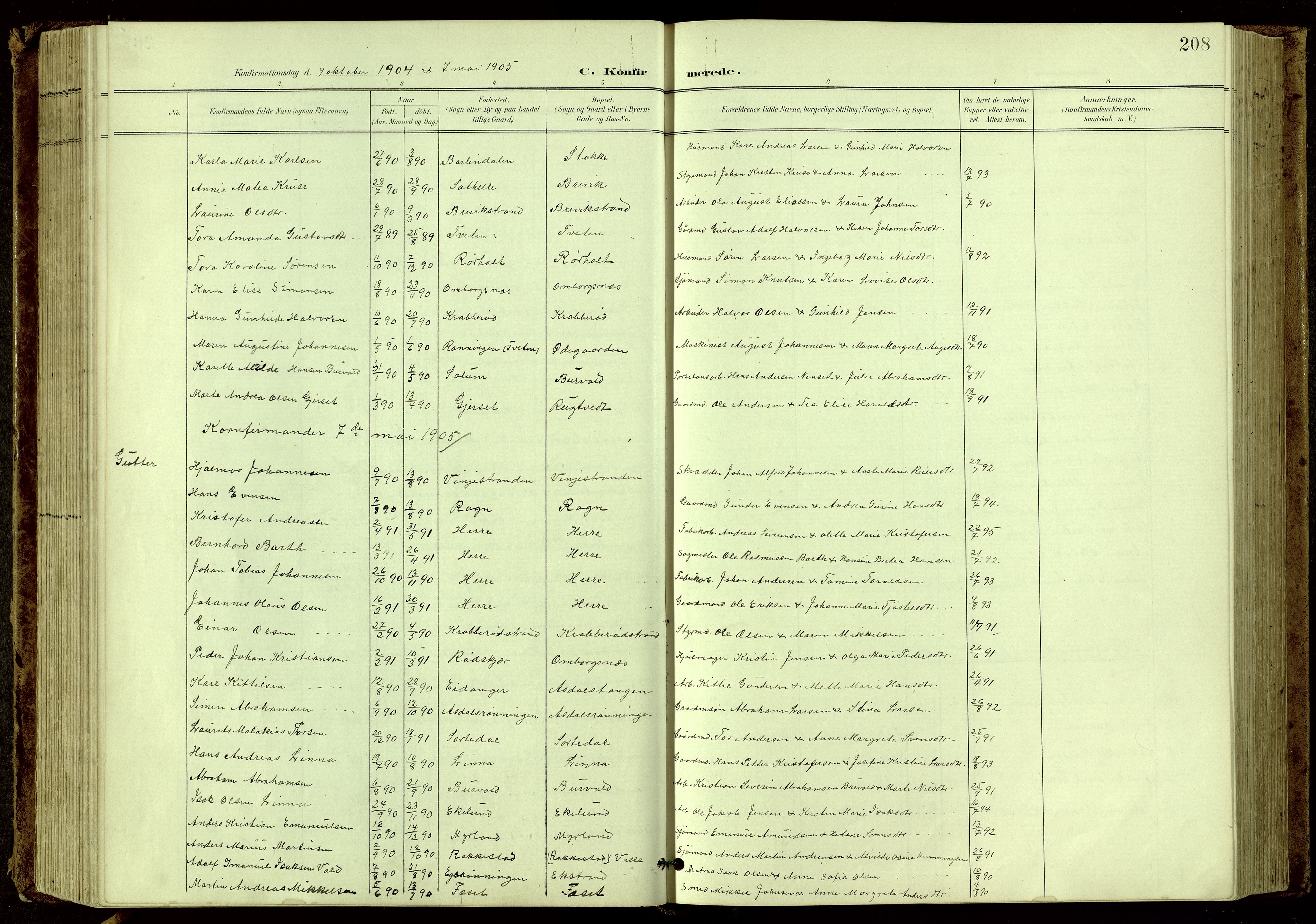 SAKO, Bamble kirkebøker, G/Ga/L0010: Klokkerbok nr. I 10, 1901-1919, s. 208