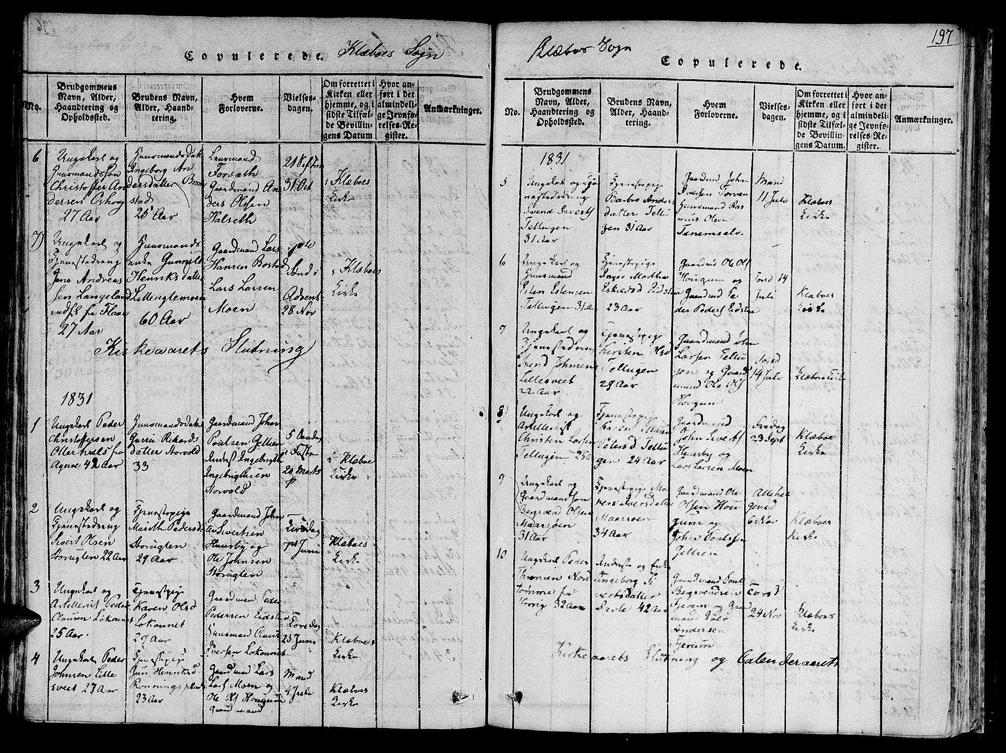 SAT, Ministerialprotokoller, klokkerbøker og fødselsregistre - Sør-Trøndelag, 618/L0439: Ministerialbok nr. 618A04 /1, 1816-1843, s. 197