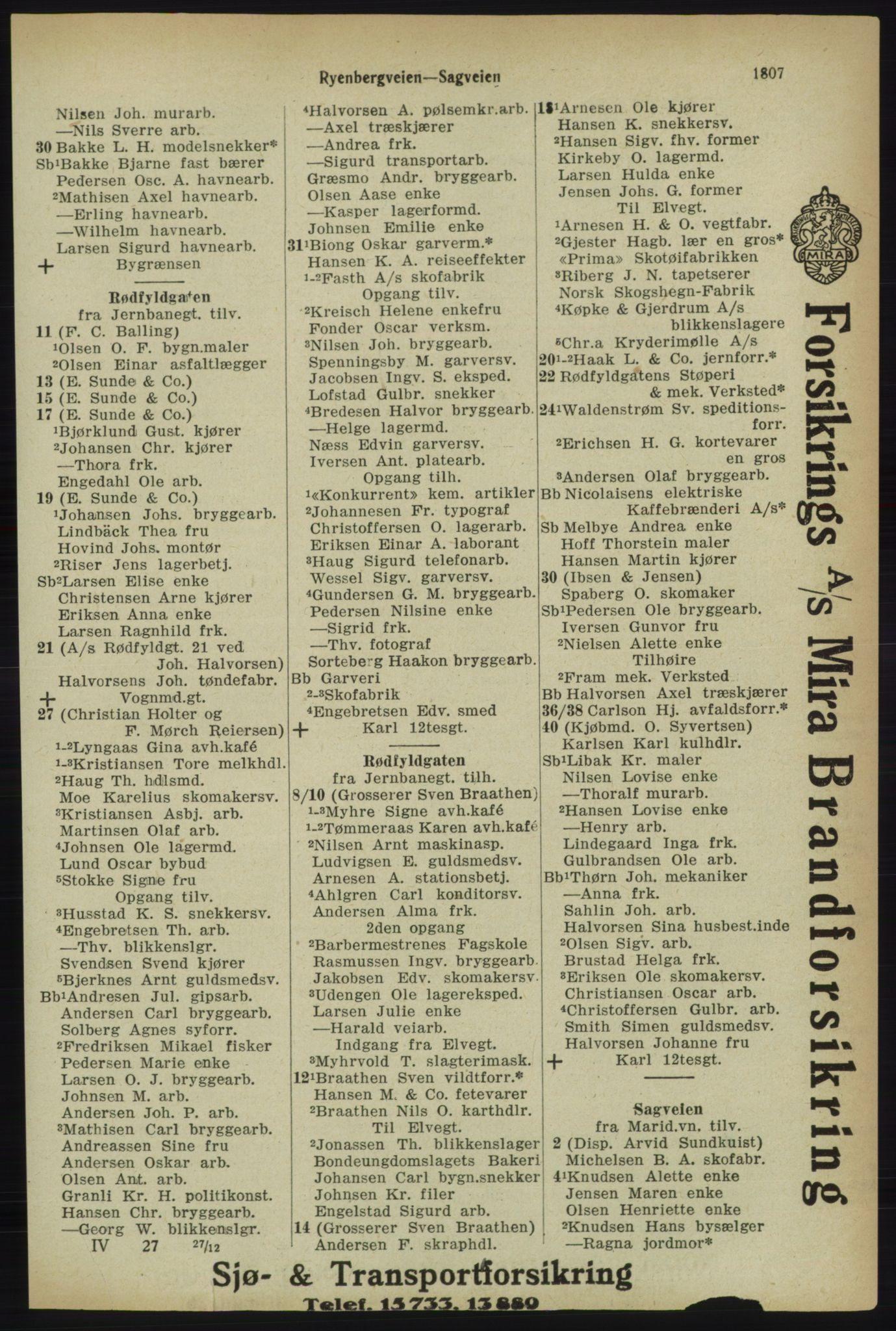 RA, Kristiania adressebok (publikasjon)*, 1918, s. 1807