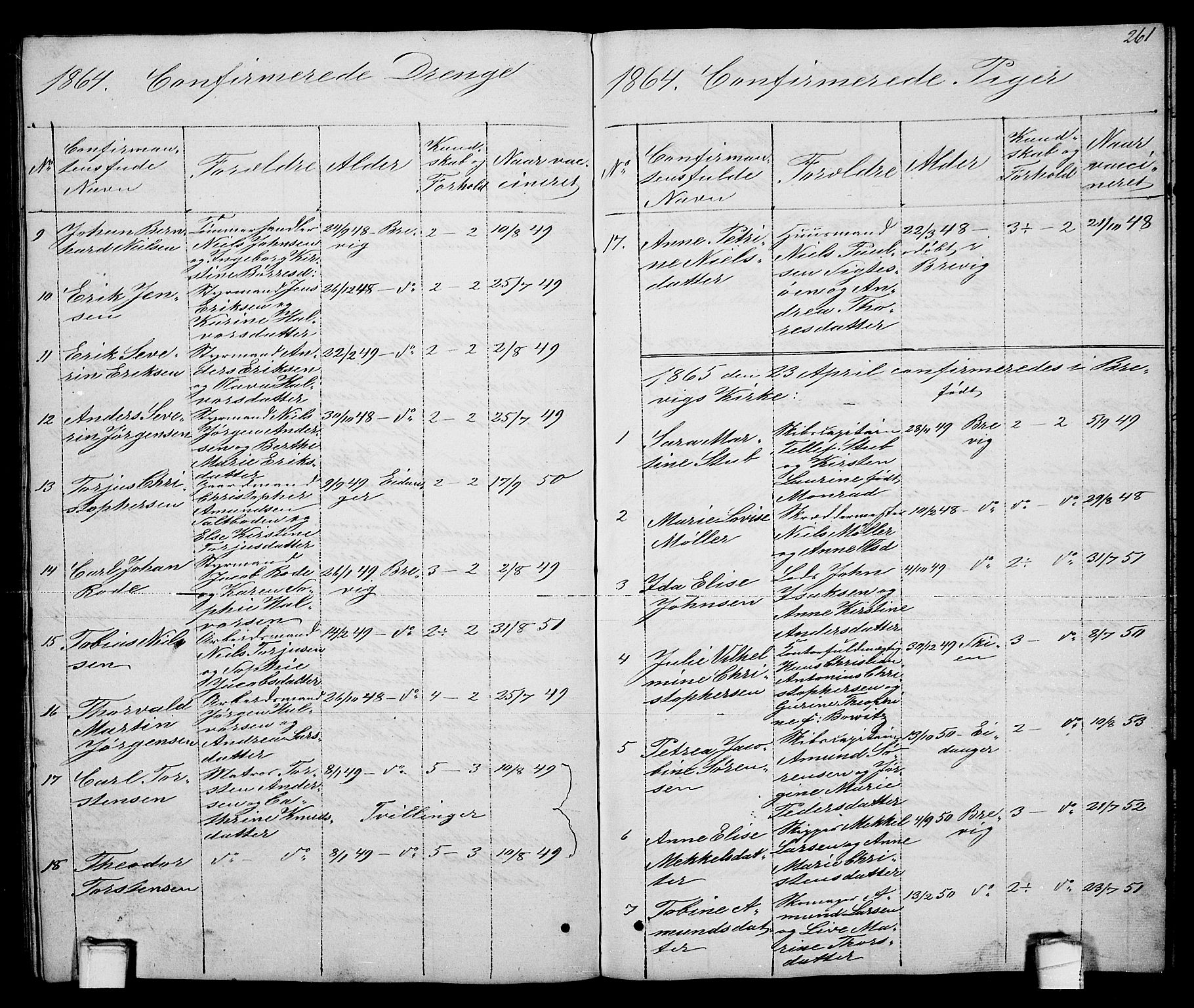 SAKO, Brevik kirkebøker, G/Ga/L0002: Klokkerbok nr. 2, 1846-1865, s. 261