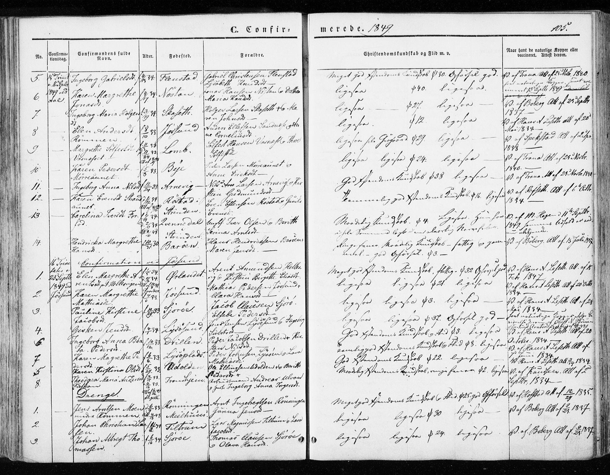 SAT, Ministerialprotokoller, klokkerbøker og fødselsregistre - Sør-Trøndelag, 655/L0677: Ministerialbok nr. 655A06, 1847-1860, s. 105