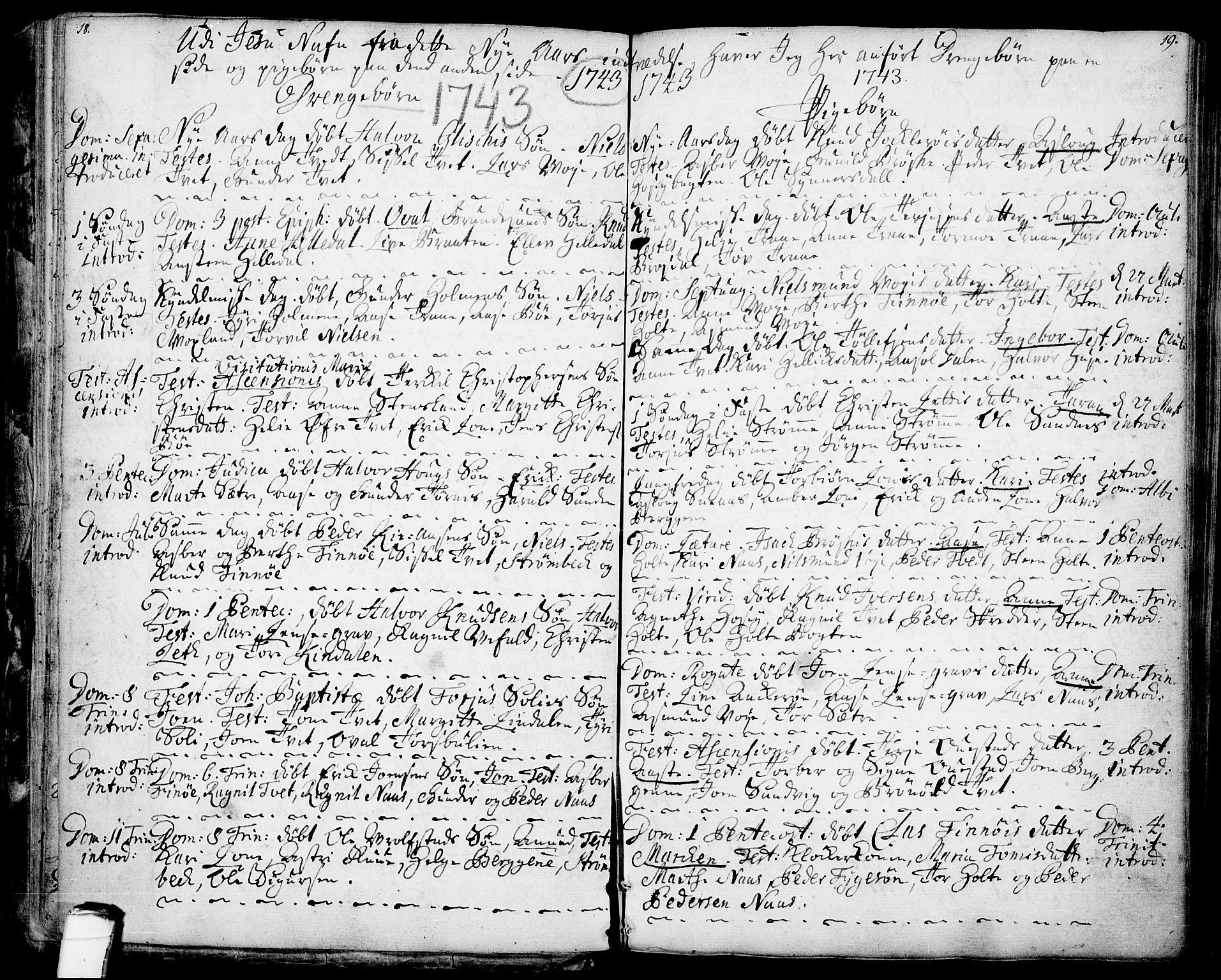 SAKO, Drangedal kirkebøker, F/Fa/L0001: Ministerialbok nr. 1, 1697-1767, s. 18-19