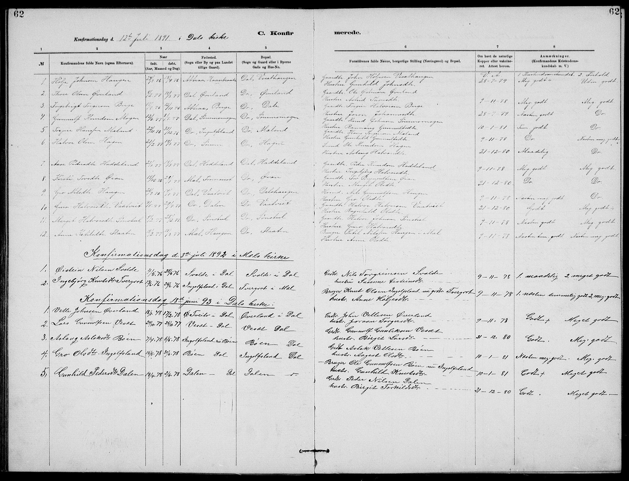SAKO, Rjukan kirkebøker, G/Ga/L0001: Klokkerbok nr. 1, 1880-1914, s. 62