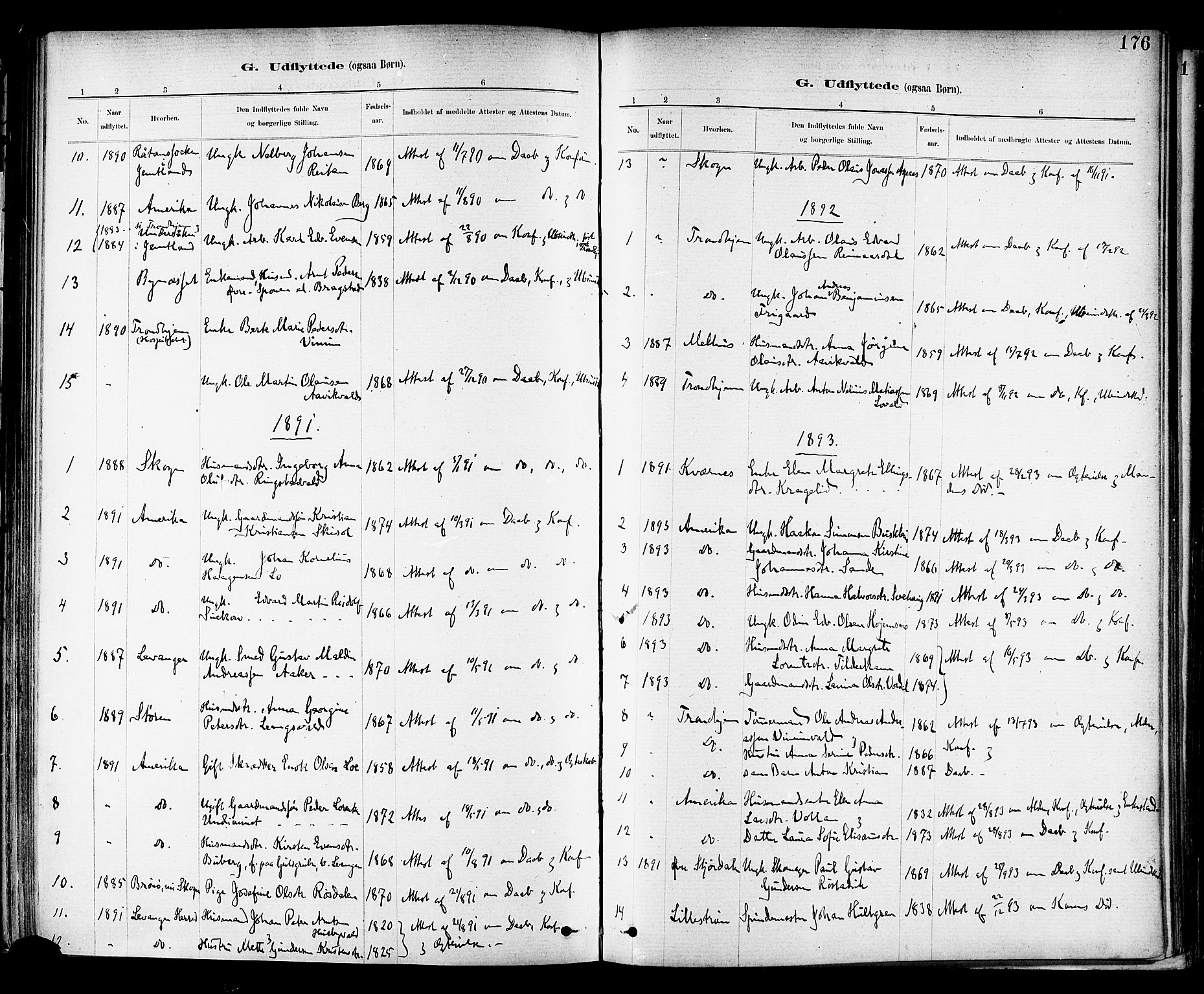 SAT, Ministerialprotokoller, klokkerbøker og fødselsregistre - Nord-Trøndelag, 714/L0130: Ministerialbok nr. 714A01, 1878-1895, s. 176