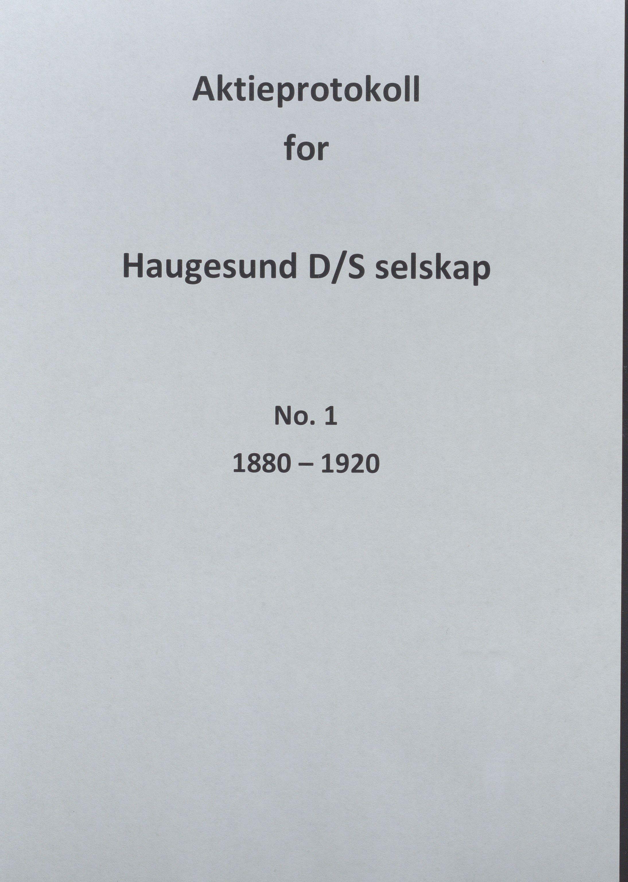 HABI, Knut Knutsen O.A.S., 1880-1920