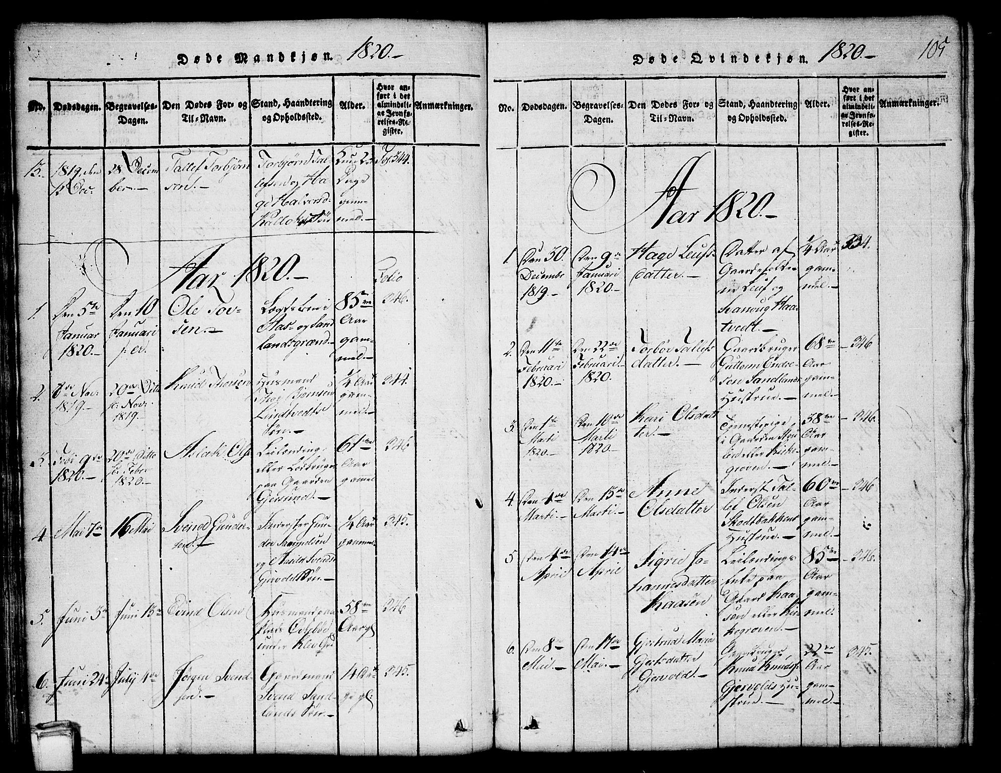 SAKO, Kviteseid kirkebøker, G/Gb/L0001: Klokkerbok nr. II 1, 1815-1842, s. 105