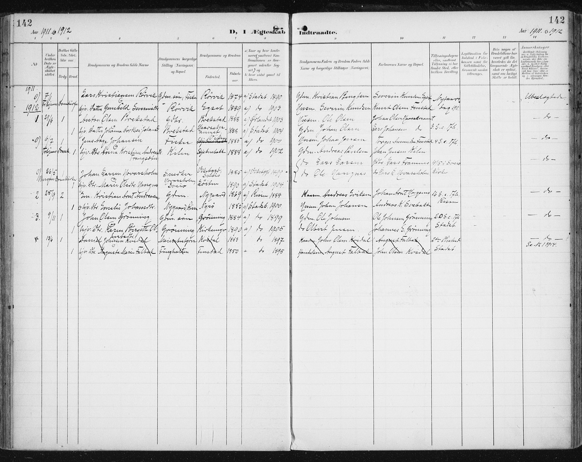 SAT, Ministerialprotokoller, klokkerbøker og fødselsregistre - Sør-Trøndelag, 646/L0616: Ministerialbok nr. 646A14, 1900-1918, s. 142