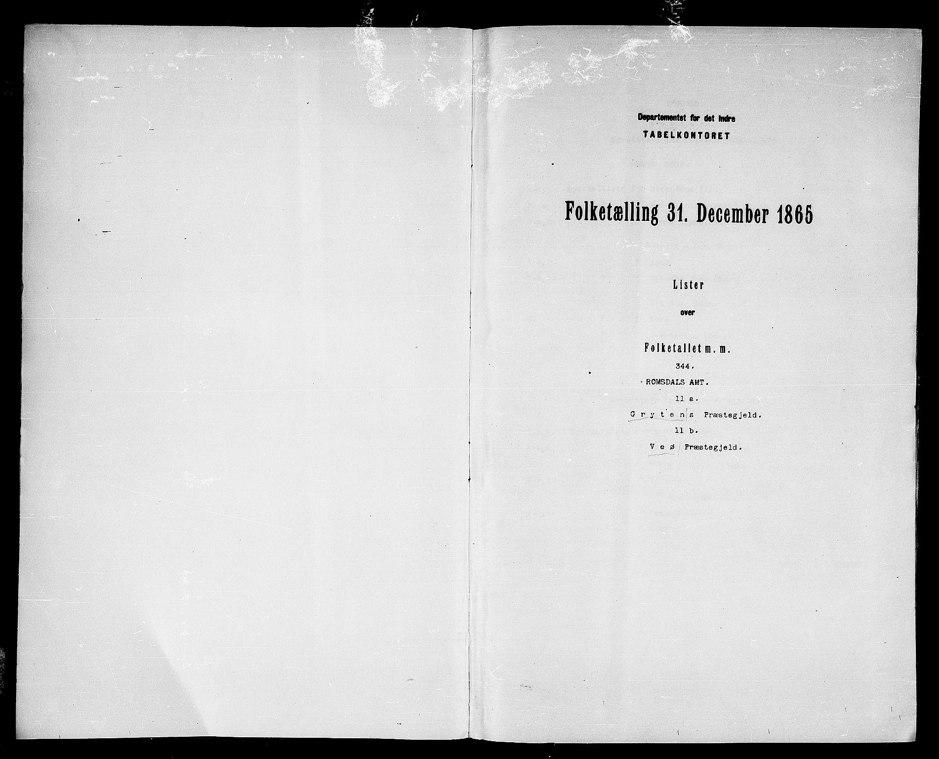 RA, Folketelling 1865 for 1539P Grytten prestegjeld, 1865, s. 3