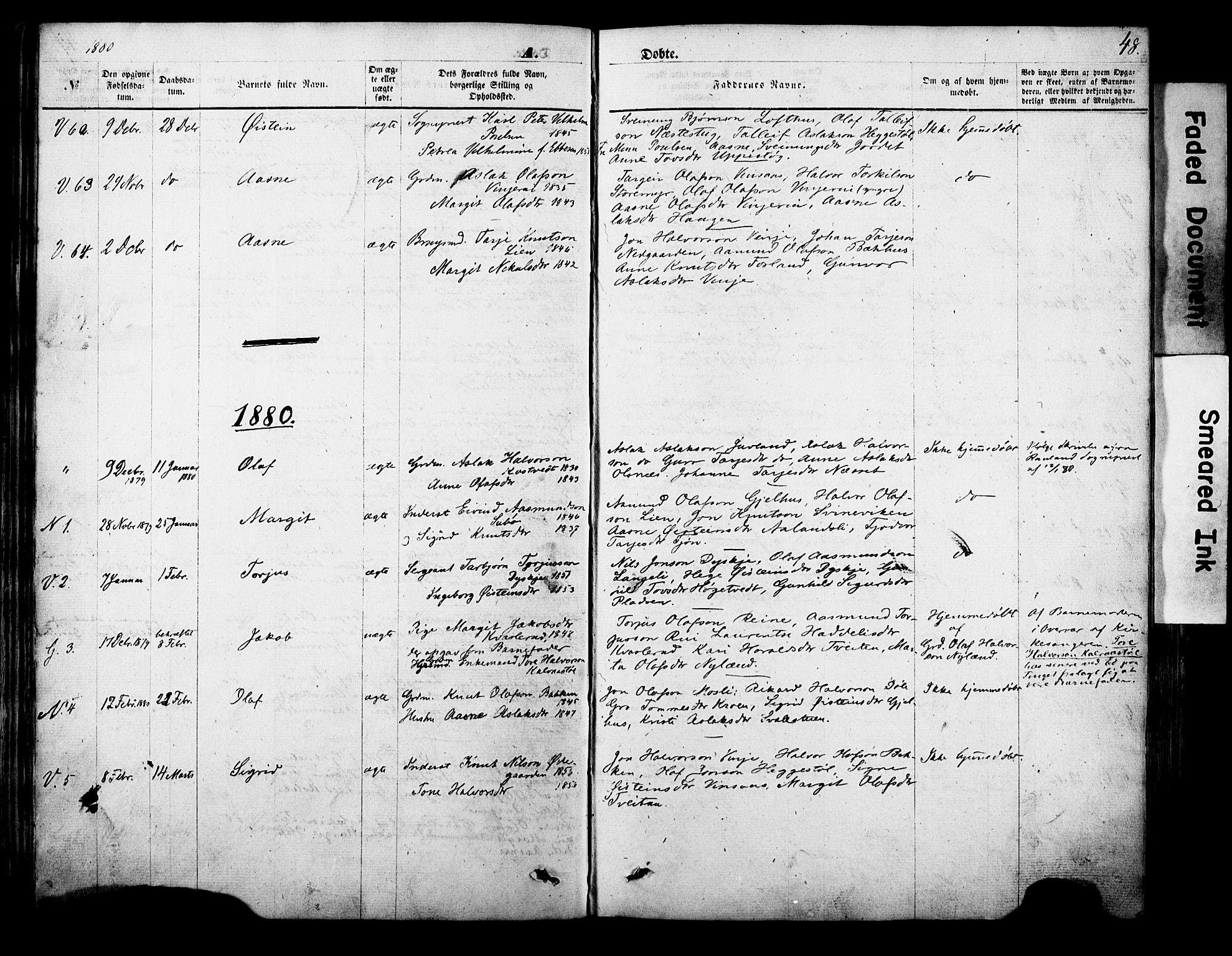 SAKO, Vinje kirkebøker, F/Fa/L0005: Ministerialbok nr. I 5, 1870-1886, s. 48