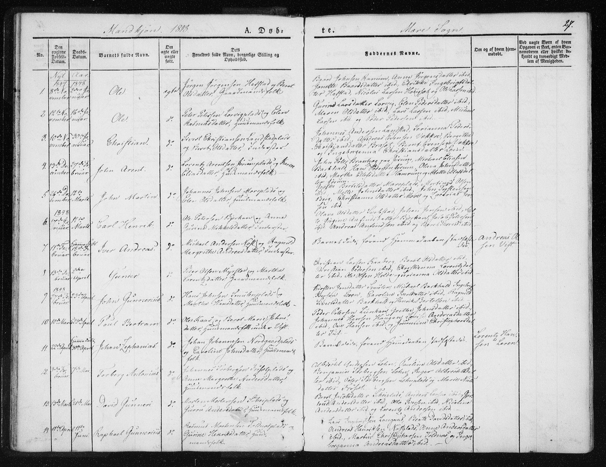 SAT, Ministerialprotokoller, klokkerbøker og fødselsregistre - Nord-Trøndelag, 735/L0339: Ministerialbok nr. 735A06 /1, 1836-1848, s. 27