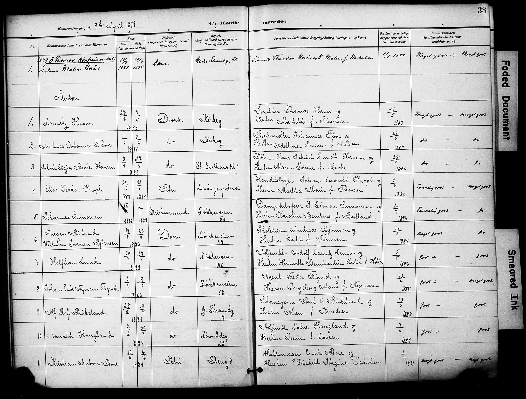 SAST, Domkirken sokneprestkontor, 30/30BA/L0031: Ministerialbok nr. A 30, 1896-1916, s. 38