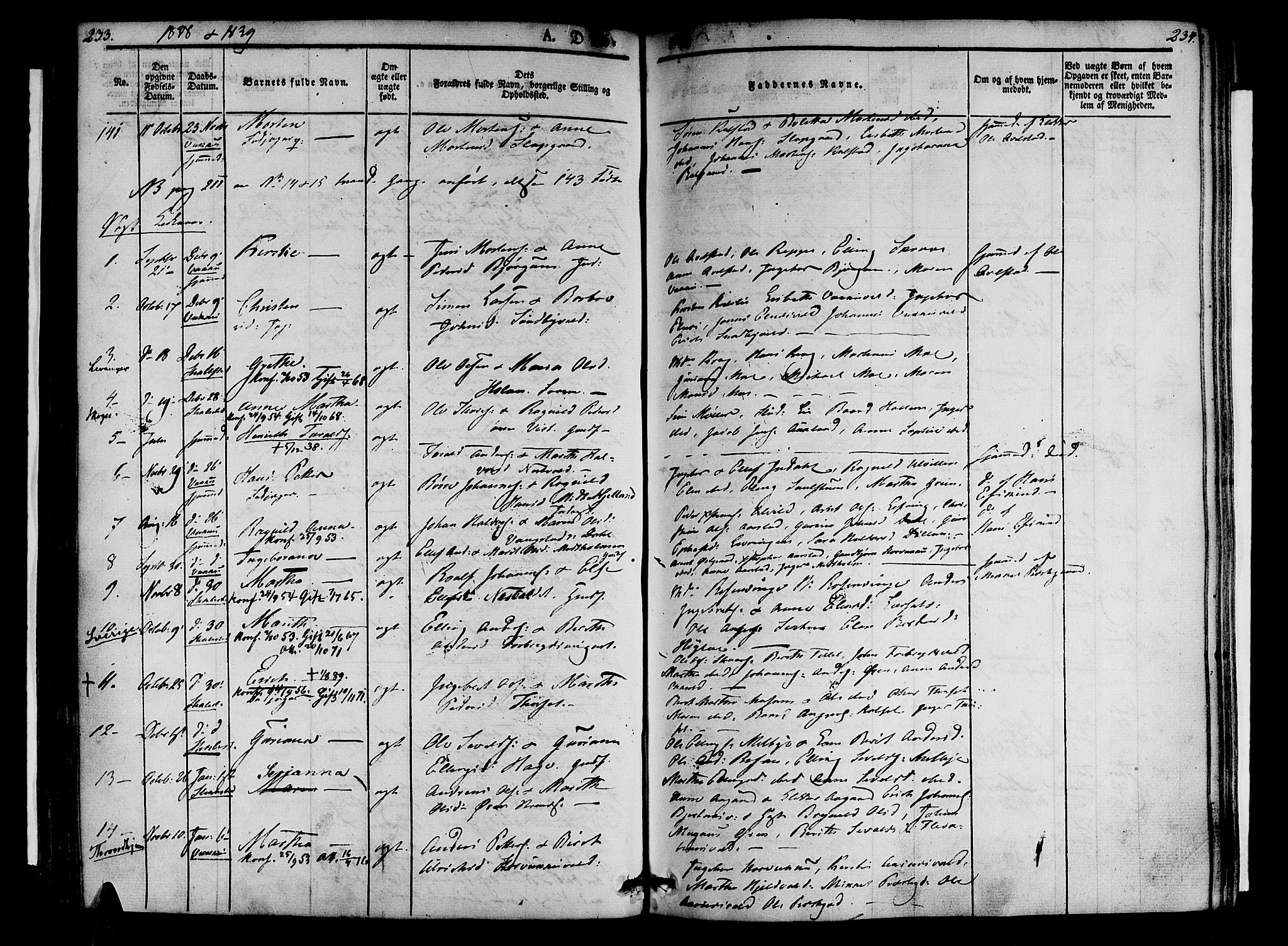 SAT, Ministerialprotokoller, klokkerbøker og fødselsregistre - Nord-Trøndelag, 723/L0238: Ministerialbok nr. 723A07, 1831-1840, s. 233-234