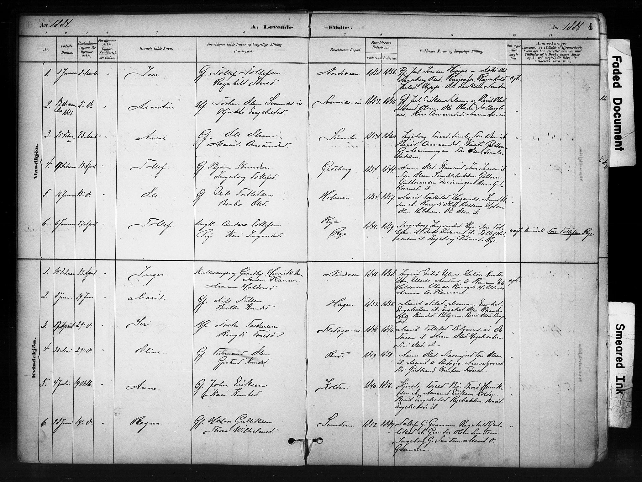 SAH, Nord-Aurdal prestekontor, Ministerialbok nr. 11, 1883-1896, s. 4