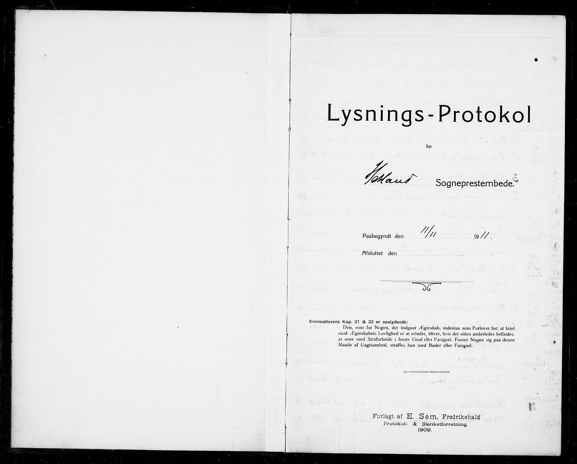 SAST, Hetland sokneprestkontor, 70/705BA/L0005: Lysningsprotokoll nr. 705.BA.5, 1911-1935