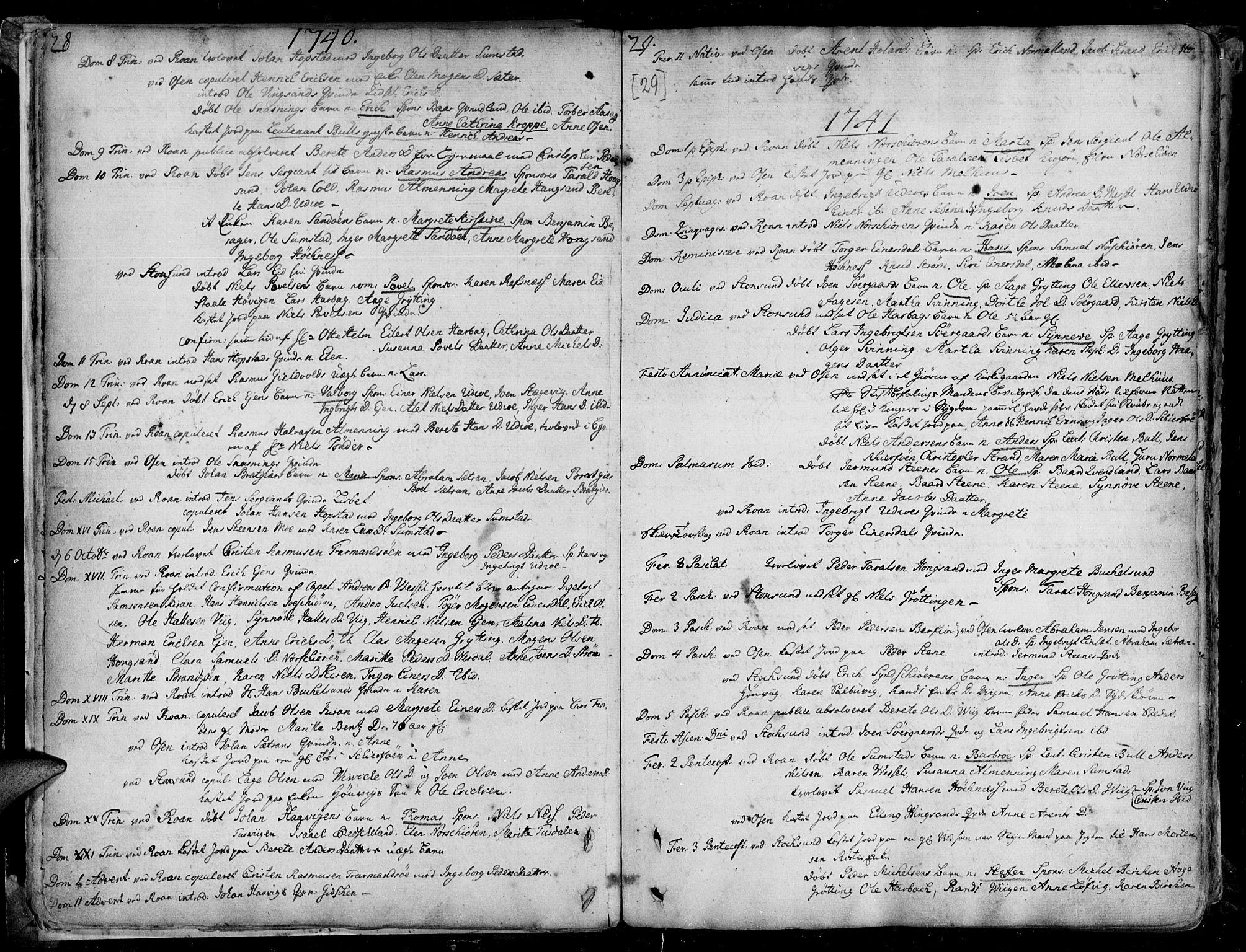 SAT, Ministerialprotokoller, klokkerbøker og fødselsregistre - Sør-Trøndelag, 657/L0700: Ministerialbok nr. 657A01, 1732-1801, s. 28-29