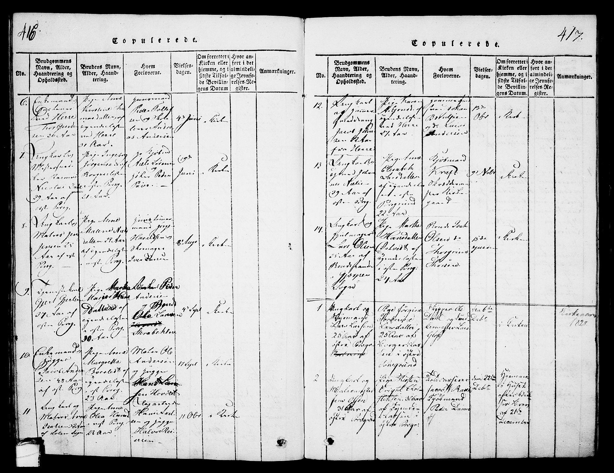 SAKO, Porsgrunn kirkebøker , G/Gb/L0001: Klokkerbok nr. II 1, 1817-1828, s. 416-417