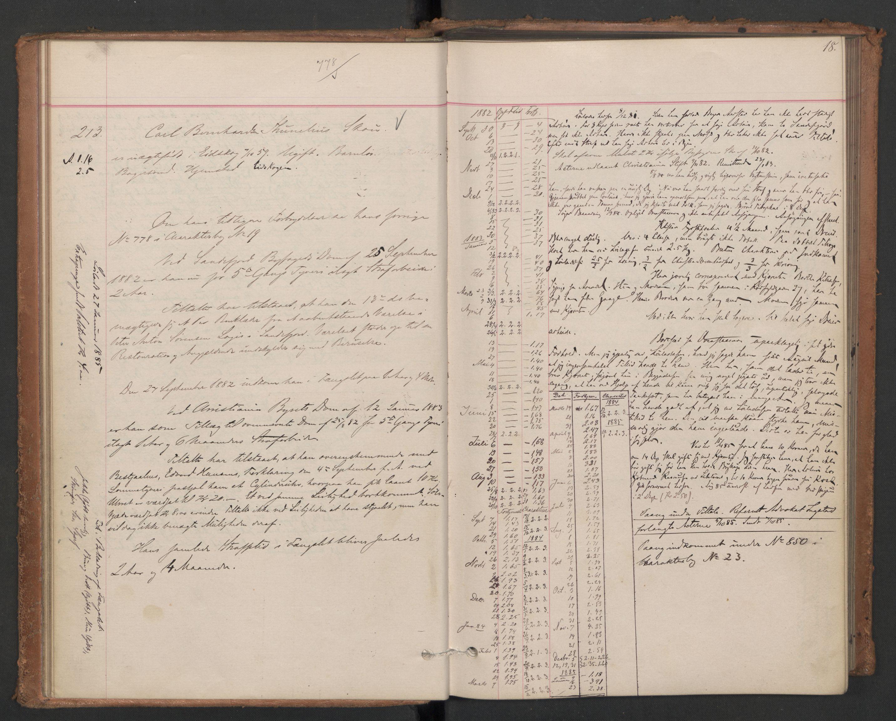 RA, Botsfengslet, D/Db/Dbb/L0021: 196g - 484g, 1882-1884, s. 18