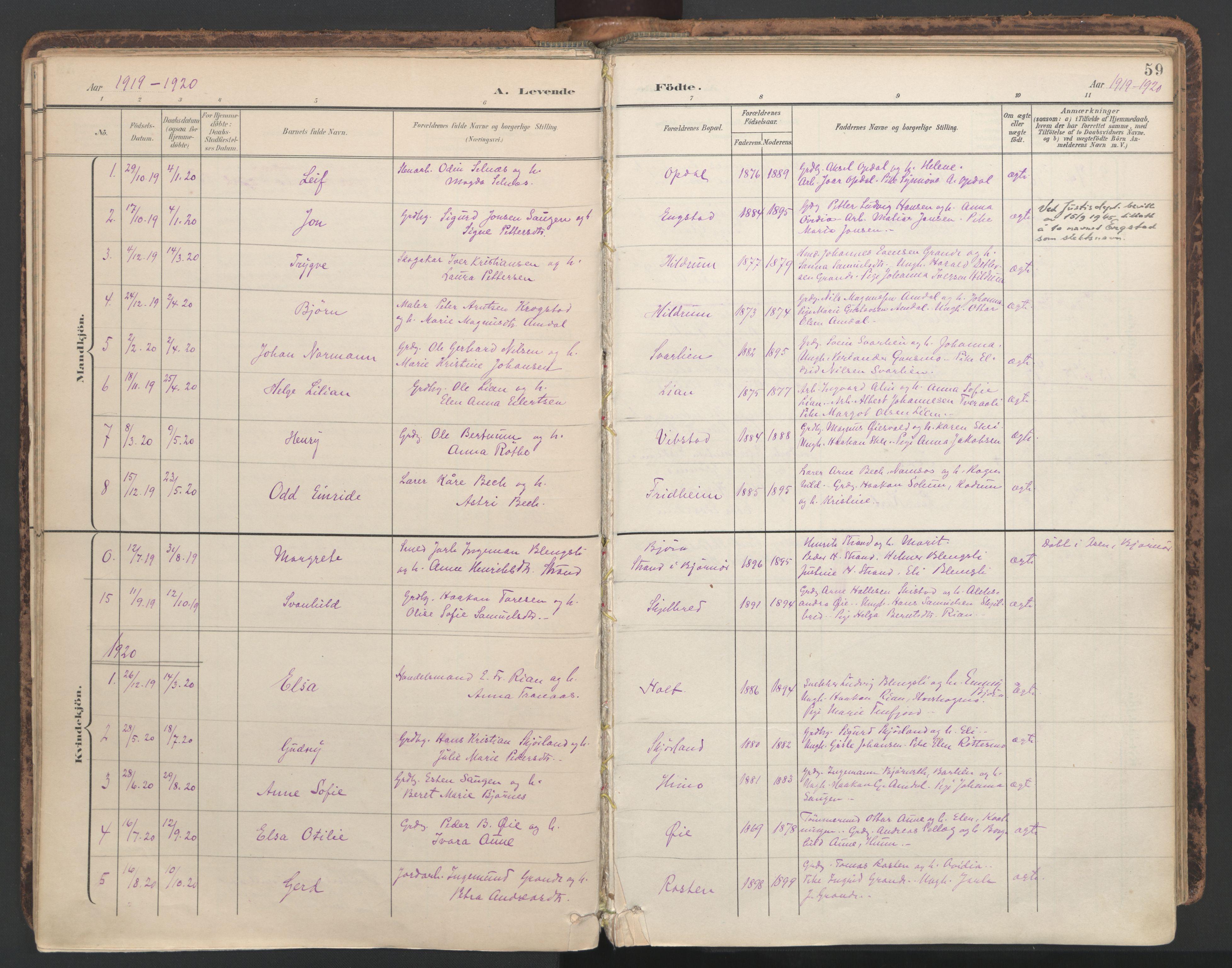 SAT, Ministerialprotokoller, klokkerbøker og fødselsregistre - Nord-Trøndelag, 764/L0556: Ministerialbok nr. 764A11, 1897-1924, s. 59