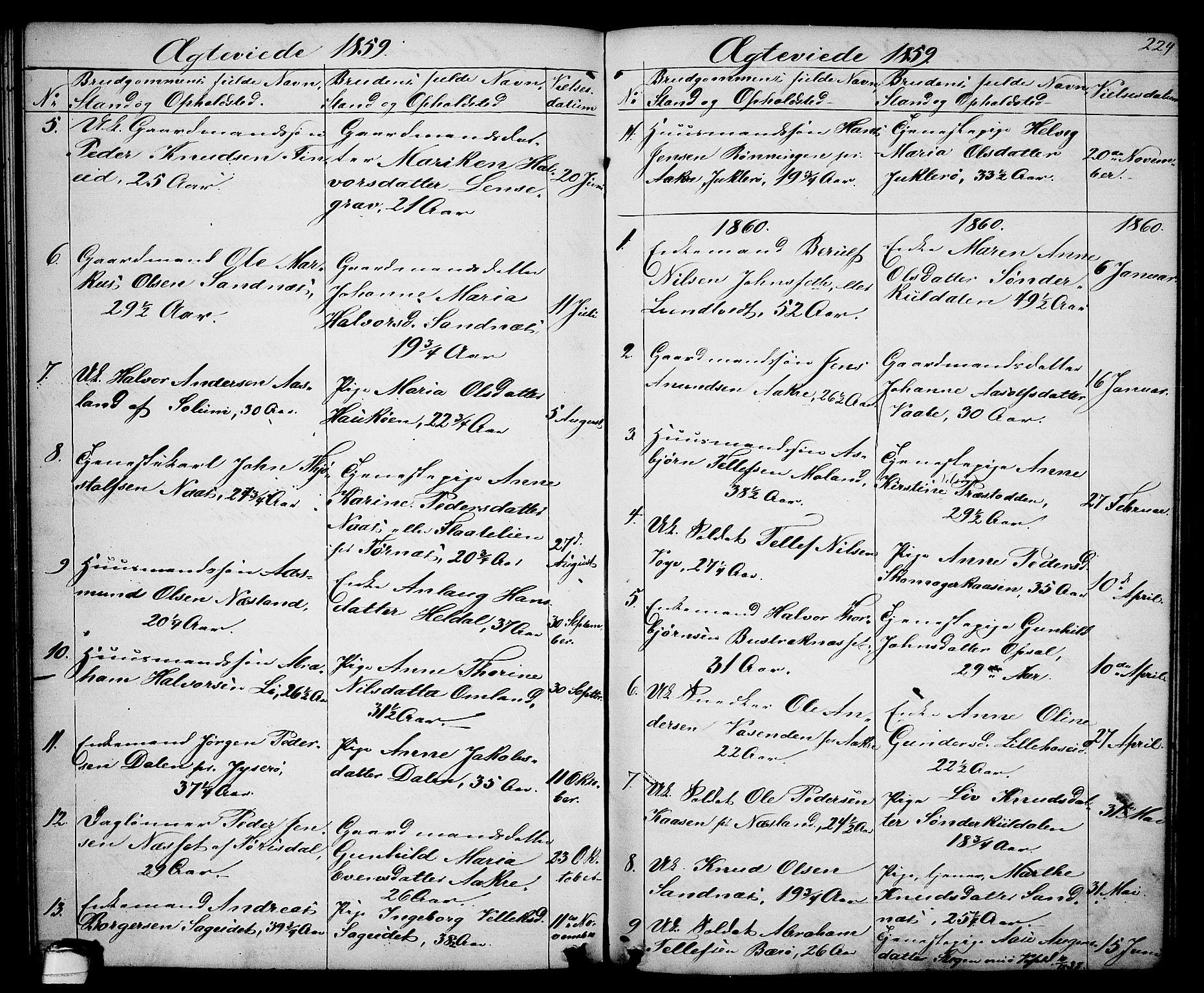 SAKO, Drangedal kirkebøker, G/Ga/L0002: Klokkerbok nr. I 2, 1856-1887, s. 224