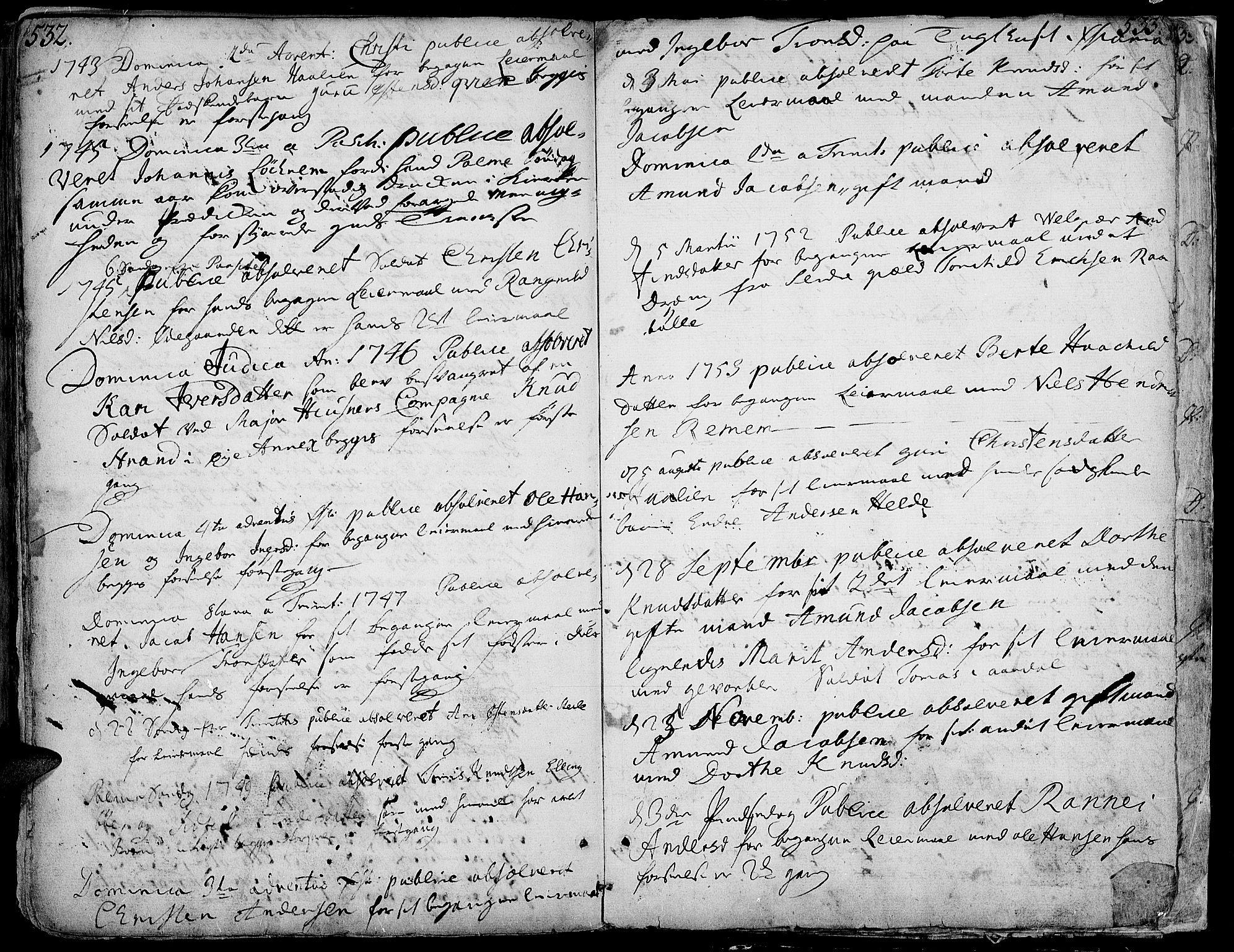 SAH, Vang prestekontor, Valdres, Ministerialbok nr. 1, 1730-1796, s. 532-533