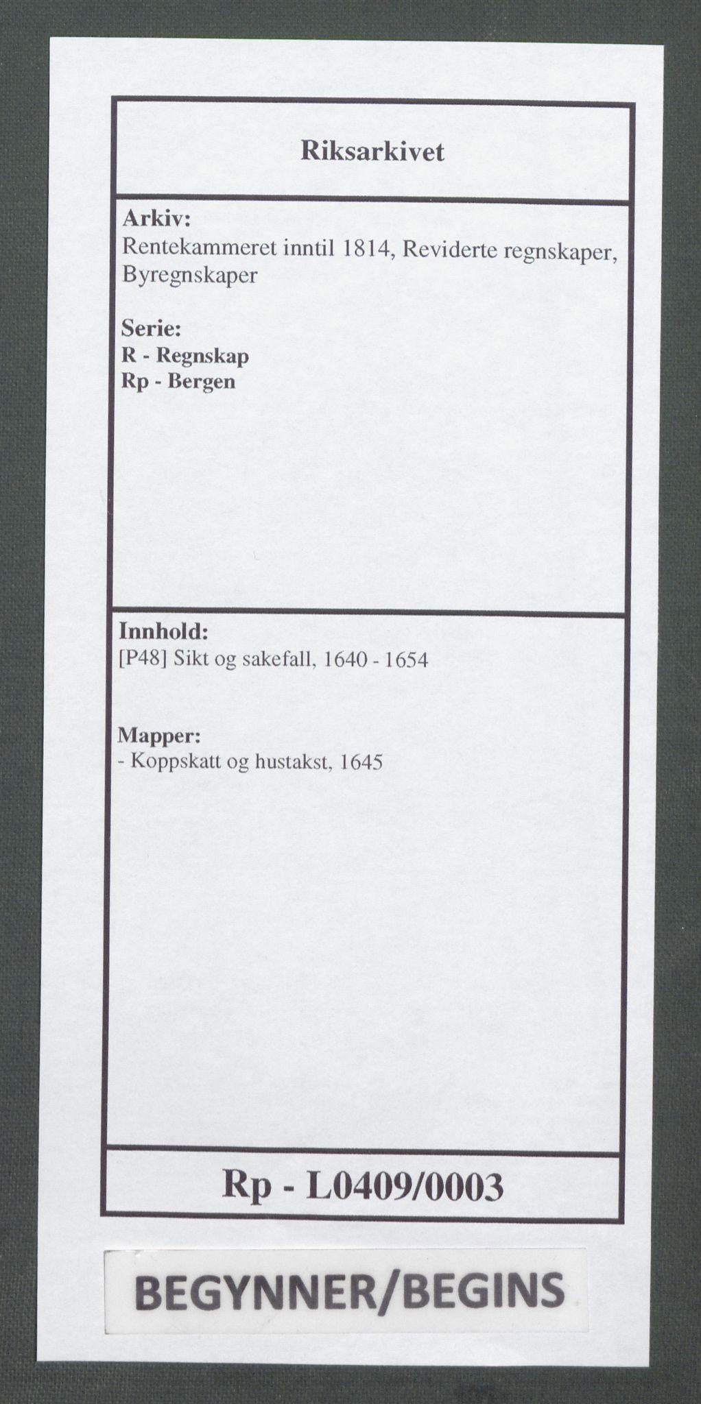 RA, Rentekammeret inntil 1814, Reviderte regnskaper, Byregnskaper, R/Rp/L0409: [P48] Sikt og sakefall, 1640-1654, s. 1
