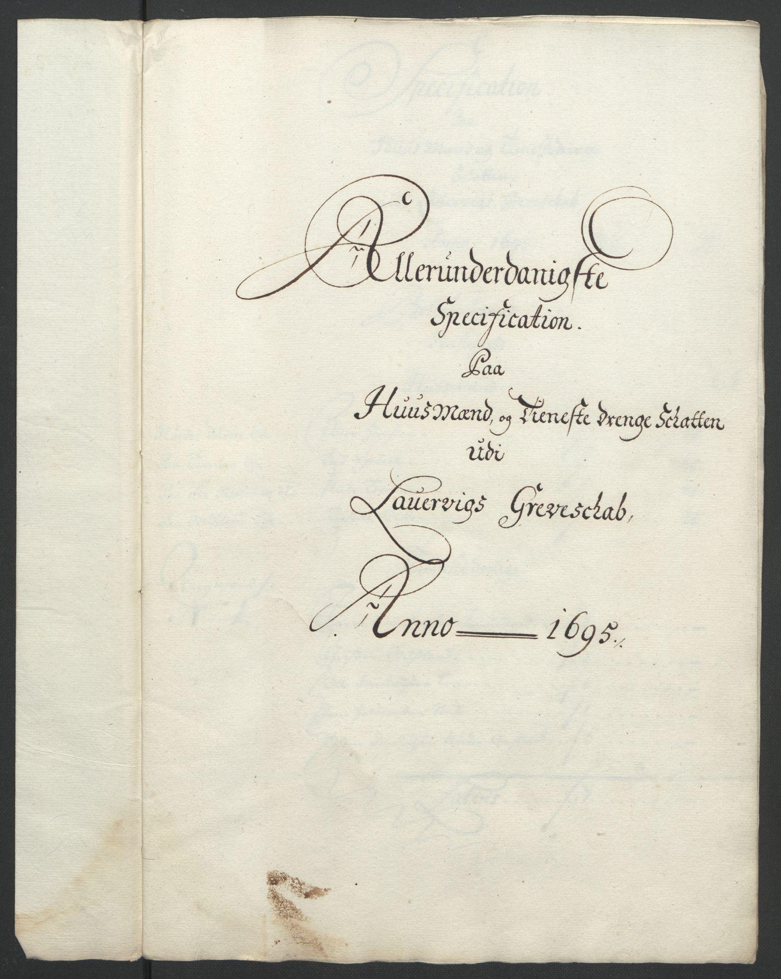 RA, Rentekammeret inntil 1814, Reviderte regnskaper, Fogderegnskap, R33/L1974: Fogderegnskap Larvik grevskap, 1693-1695, s. 259
