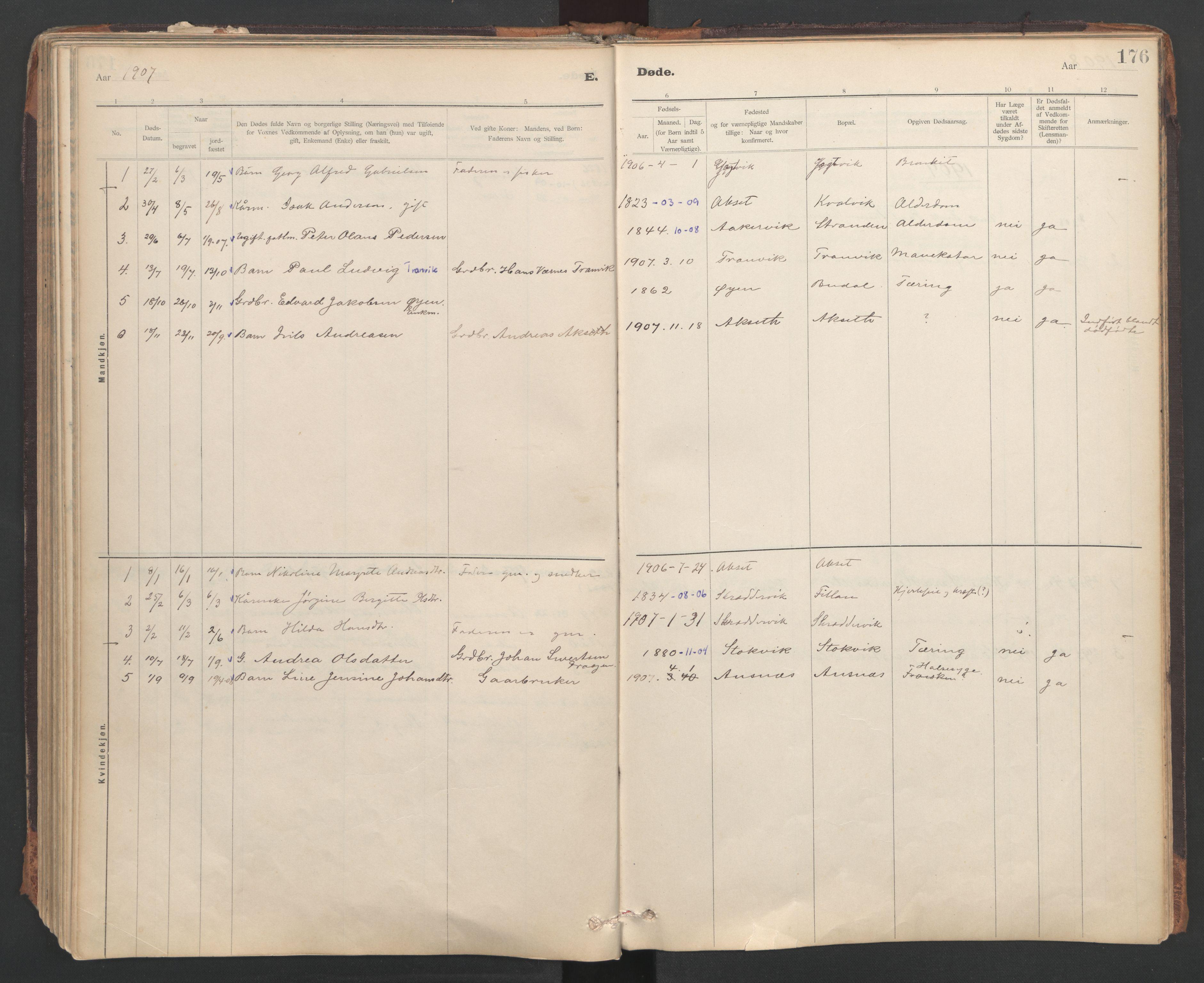 SAT, Ministerialprotokoller, klokkerbøker og fødselsregistre - Sør-Trøndelag, 637/L0559: Ministerialbok nr. 637A02, 1899-1923, s. 176