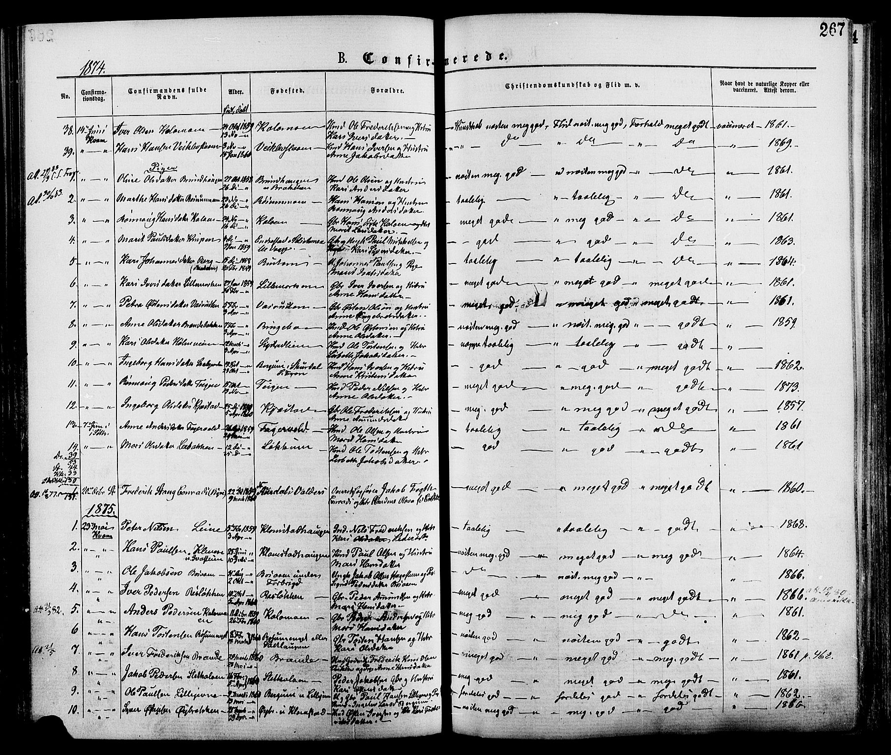 SAH, Nord-Fron prestekontor, Ministerialbok nr. 2, 1865-1883, s. 267