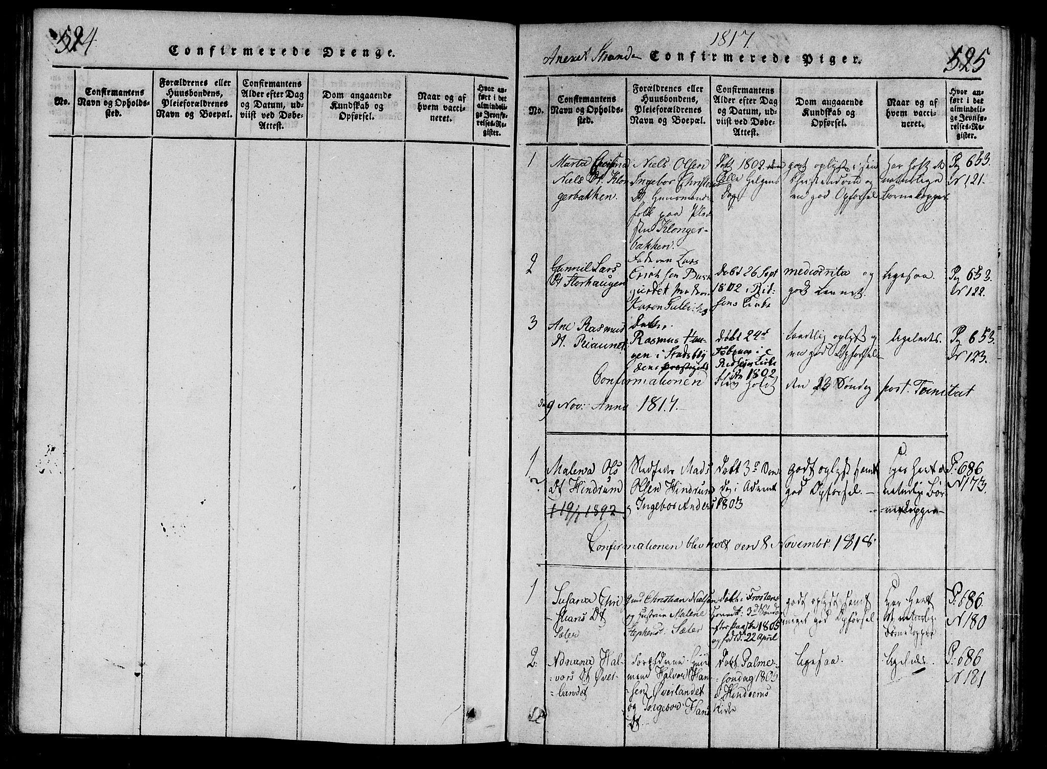 SAT, Ministerialprotokoller, klokkerbøker og fødselsregistre - Nord-Trøndelag, 701/L0005: Ministerialbok nr. 701A05 /2, 1816-1825, s. 524-525