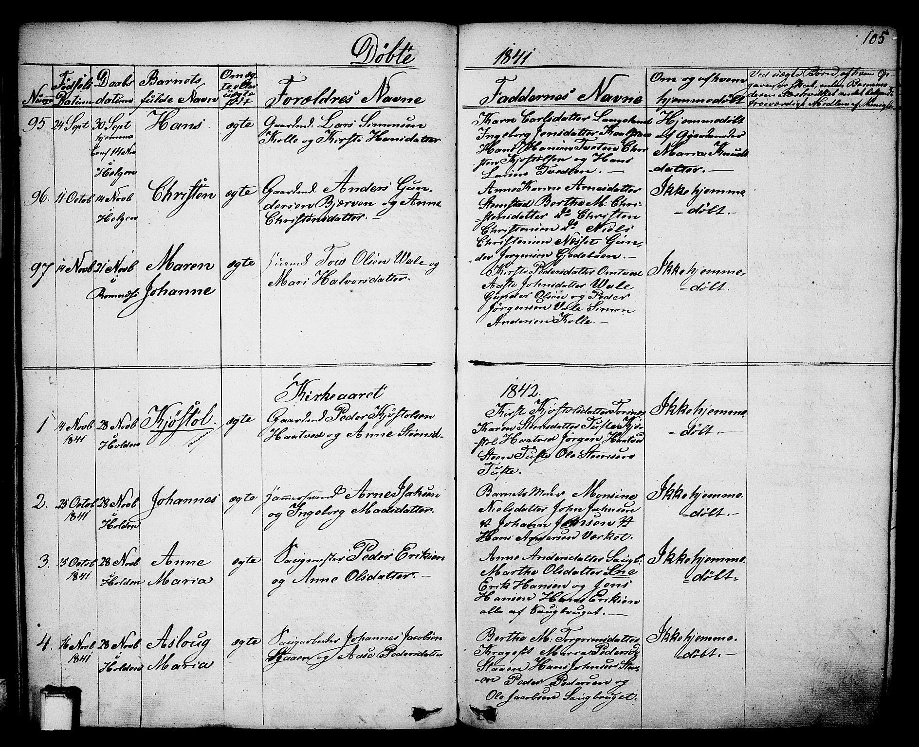 SAKO, Holla kirkebøker, F/Fa/L0004: Ministerialbok nr. 4, 1830-1848, s. 105