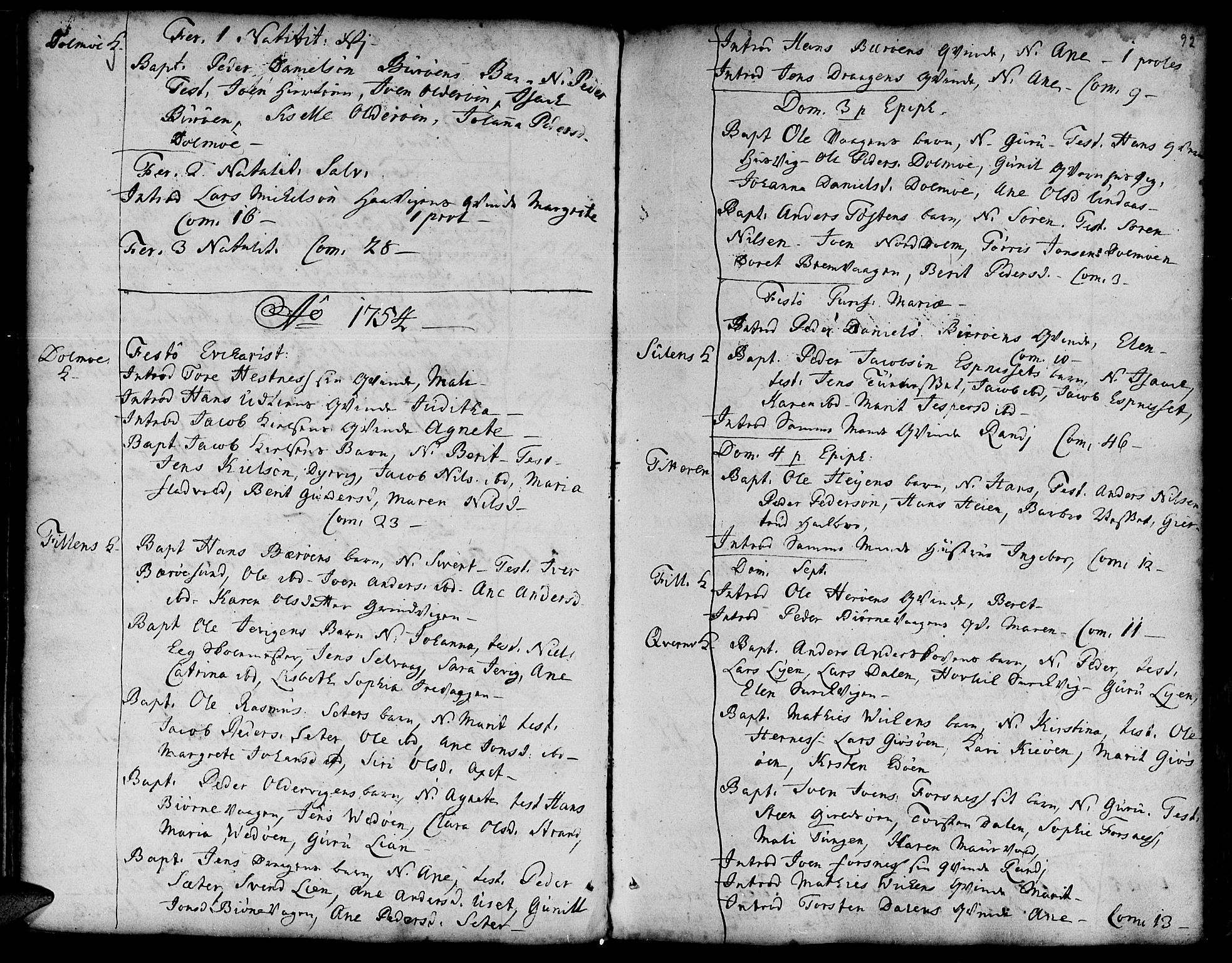 SAT, Ministerialprotokoller, klokkerbøker og fødselsregistre - Sør-Trøndelag, 634/L0525: Ministerialbok nr. 634A01, 1736-1775, s. 92