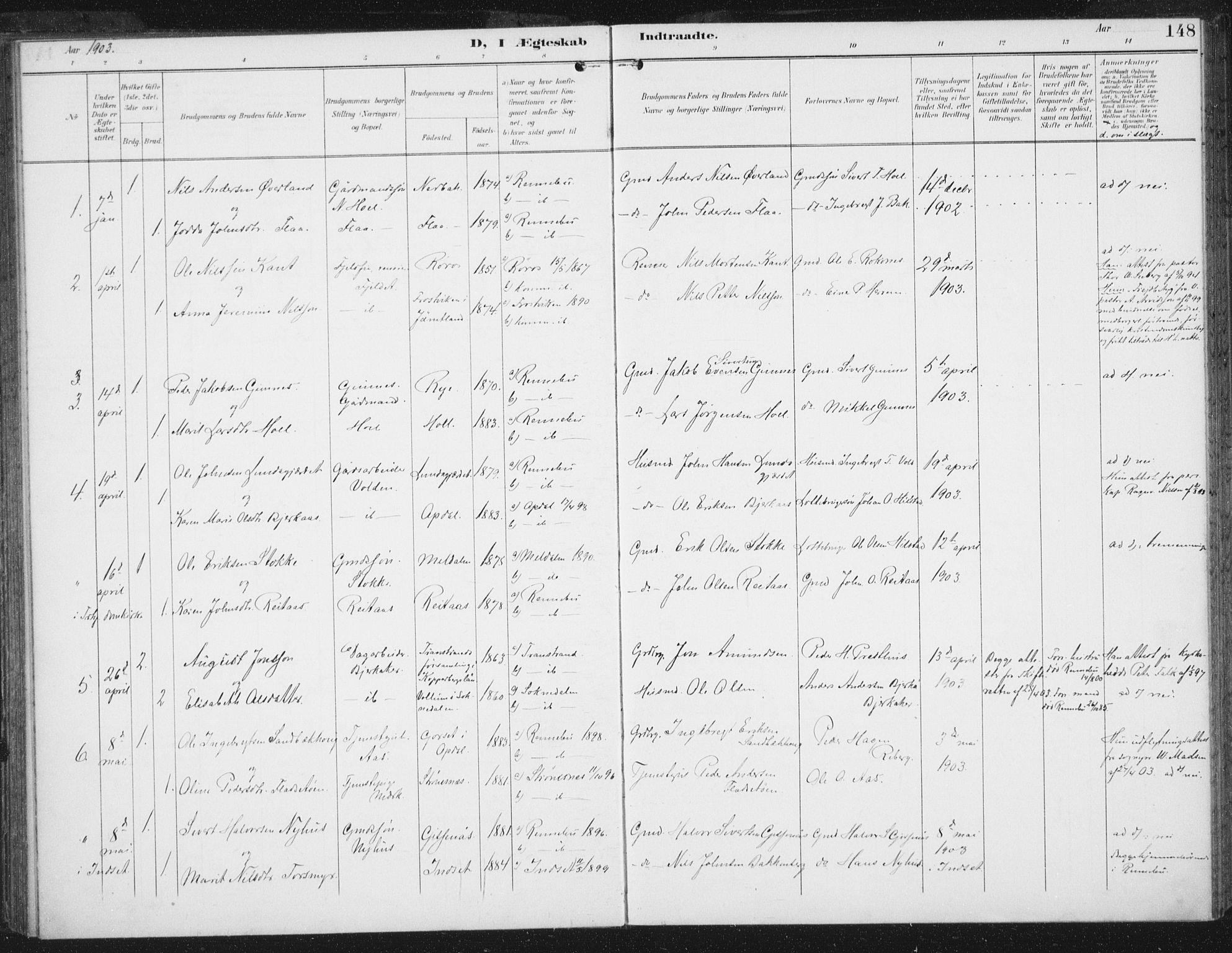 SAT, Ministerialprotokoller, klokkerbøker og fødselsregistre - Sør-Trøndelag, 674/L0872: Ministerialbok nr. 674A04, 1897-1907, s. 148