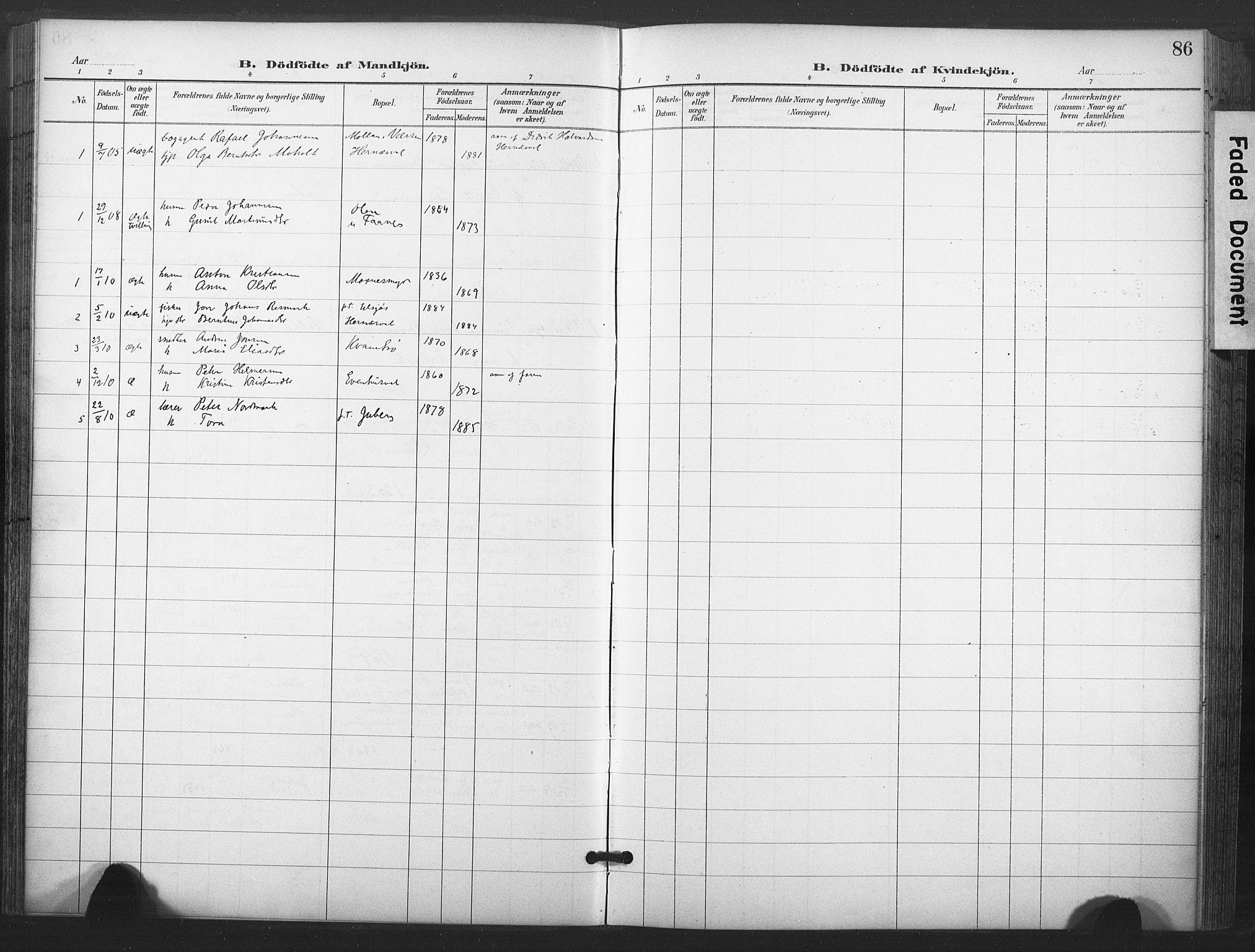 SAT, Ministerialprotokoller, klokkerbøker og fødselsregistre - Nord-Trøndelag, 713/L0122: Ministerialbok nr. 713A11, 1899-1910, s. 86