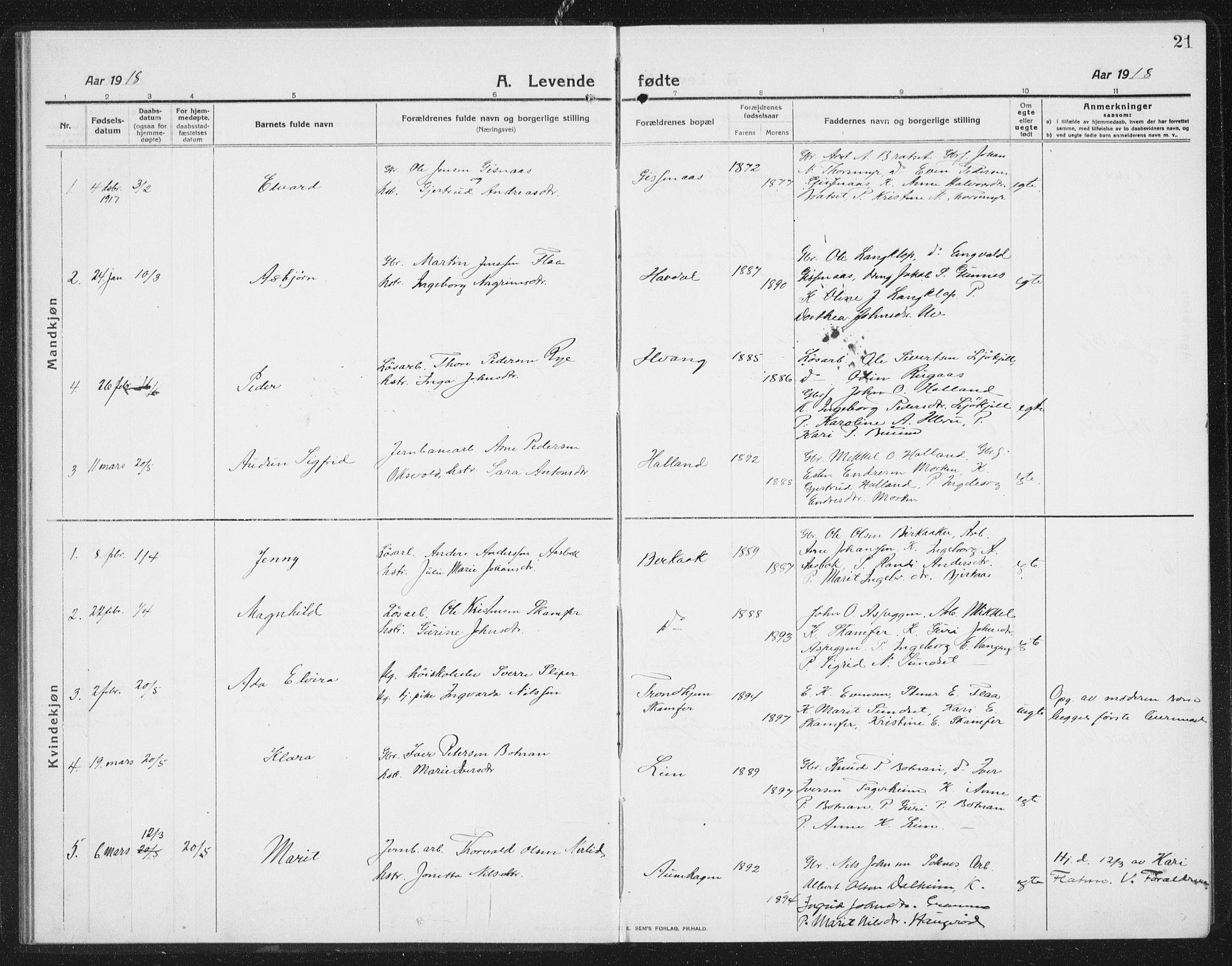 SAT, Ministerialprotokoller, klokkerbøker og fødselsregistre - Sør-Trøndelag, 675/L0888: Klokkerbok nr. 675C01, 1913-1935, s. 21