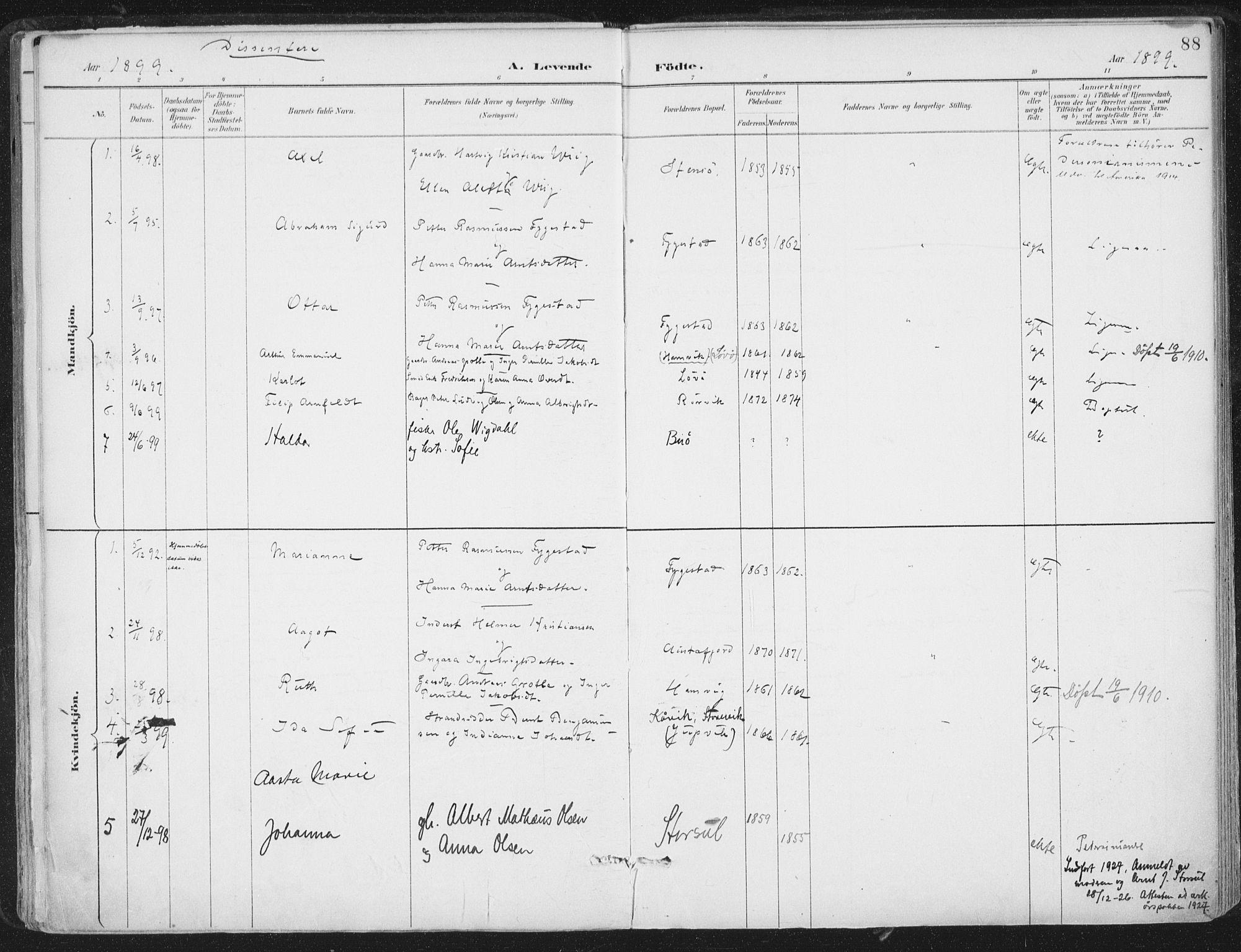 SAT, Ministerialprotokoller, klokkerbøker og fødselsregistre - Nord-Trøndelag, 786/L0687: Ministerialbok nr. 786A03, 1888-1898, s. 88