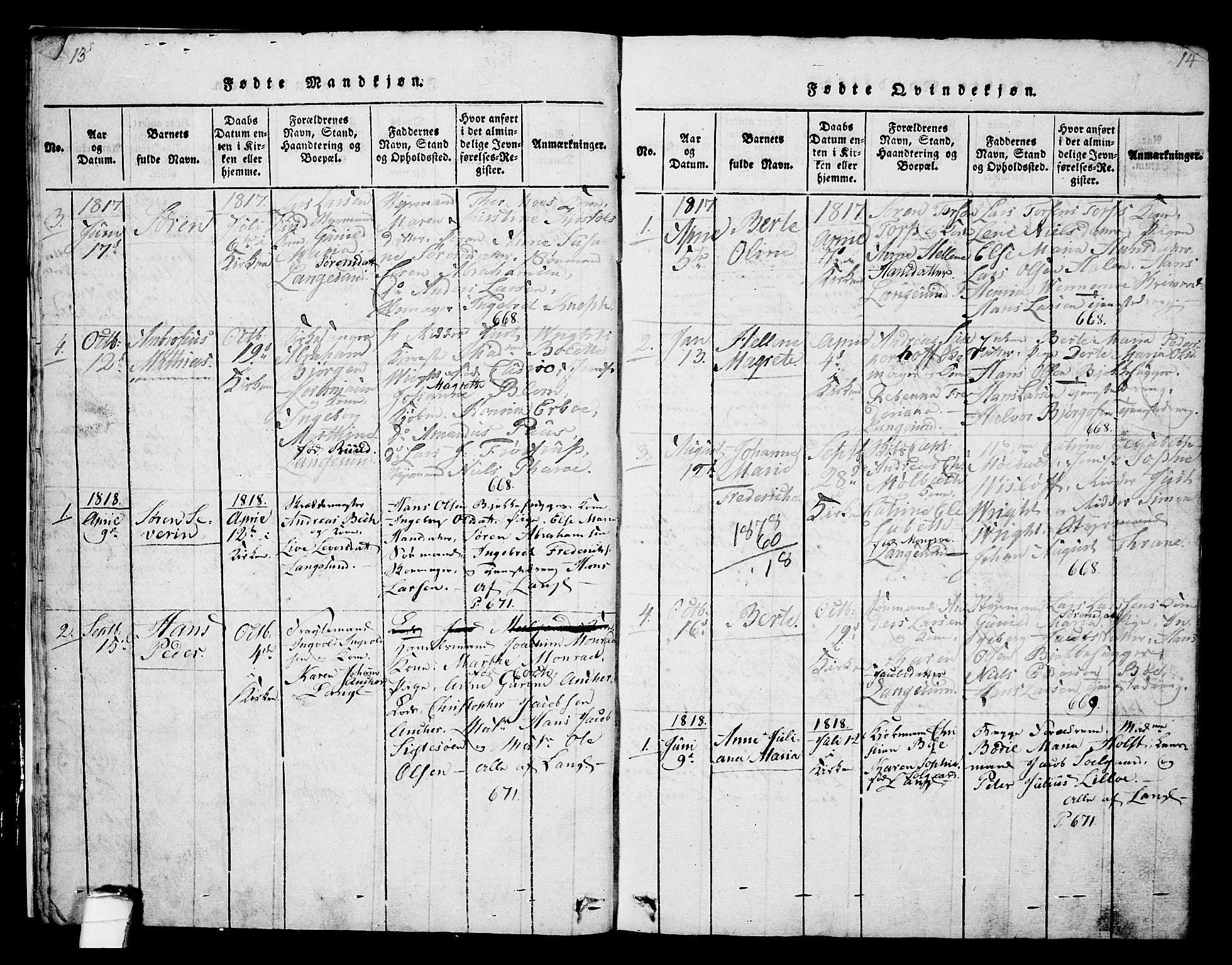 SAKO, Langesund kirkebøker, G/Ga/L0003: Klokkerbok nr. 3, 1815-1858, s. 13-14