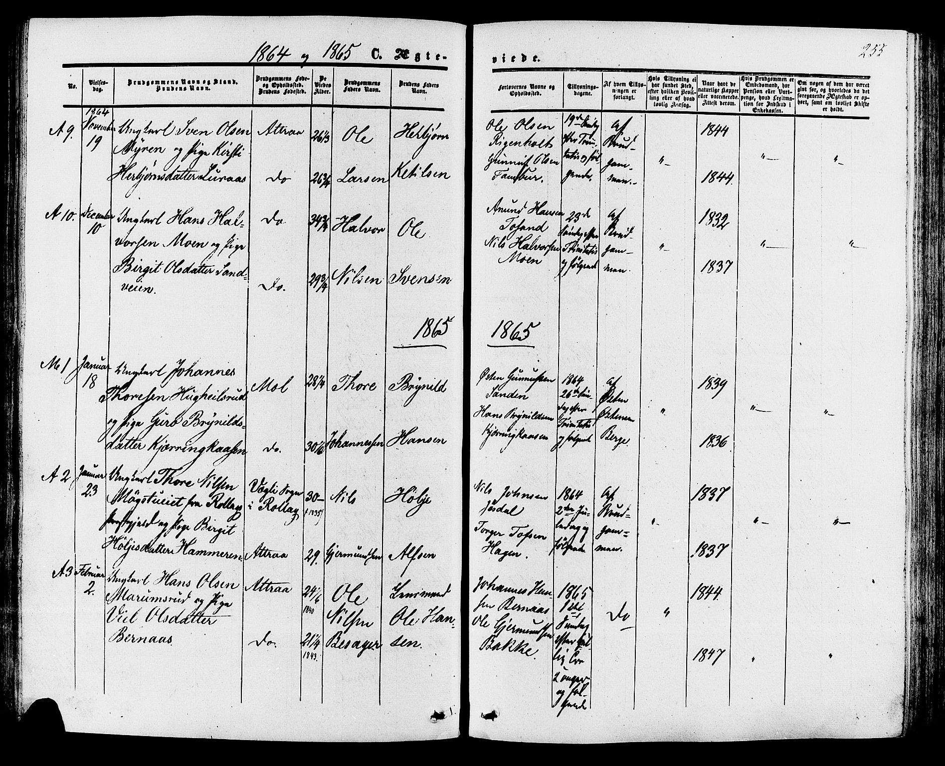 SAKO, Tinn kirkebøker, F/Fa/L0006: Ministerialbok nr. I 6, 1857-1878, s. 255