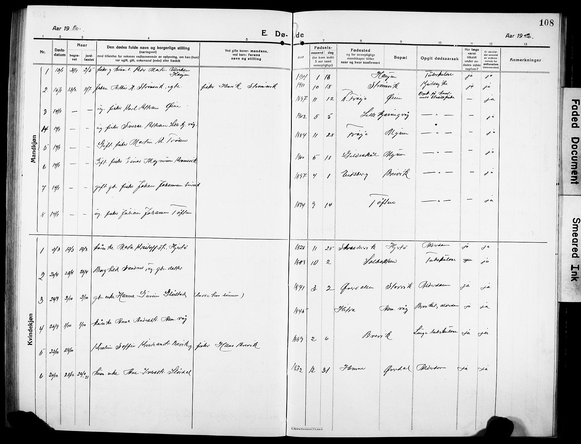 SAT, Ministerialprotokoller, klokkerbøker og fødselsregistre - Sør-Trøndelag, 634/L0543: Klokkerbok nr. 634C05, 1917-1928, s. 108