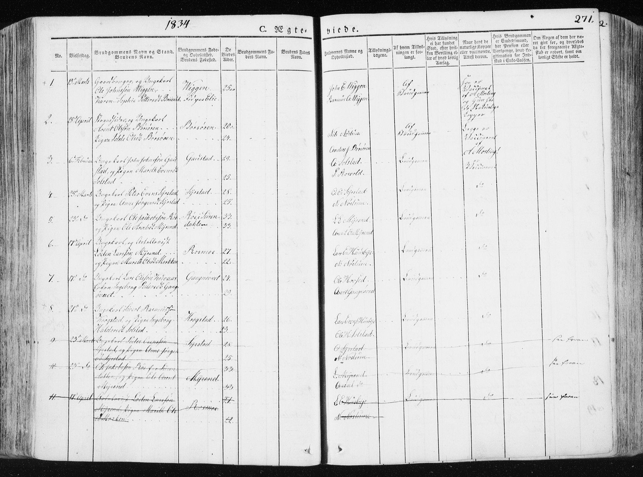 SAT, Ministerialprotokoller, klokkerbøker og fødselsregistre - Sør-Trøndelag, 665/L0771: Ministerialbok nr. 665A06, 1830-1856, s. 271