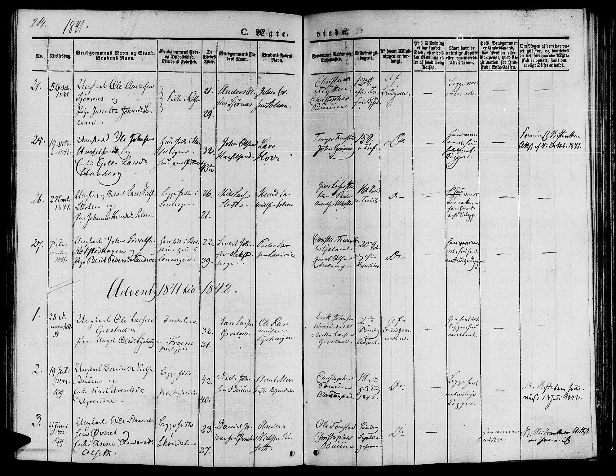 SAT, Ministerialprotokoller, klokkerbøker og fødselsregistre - Sør-Trøndelag, 646/L0610: Ministerialbok nr. 646A08, 1837-1847, s. 214