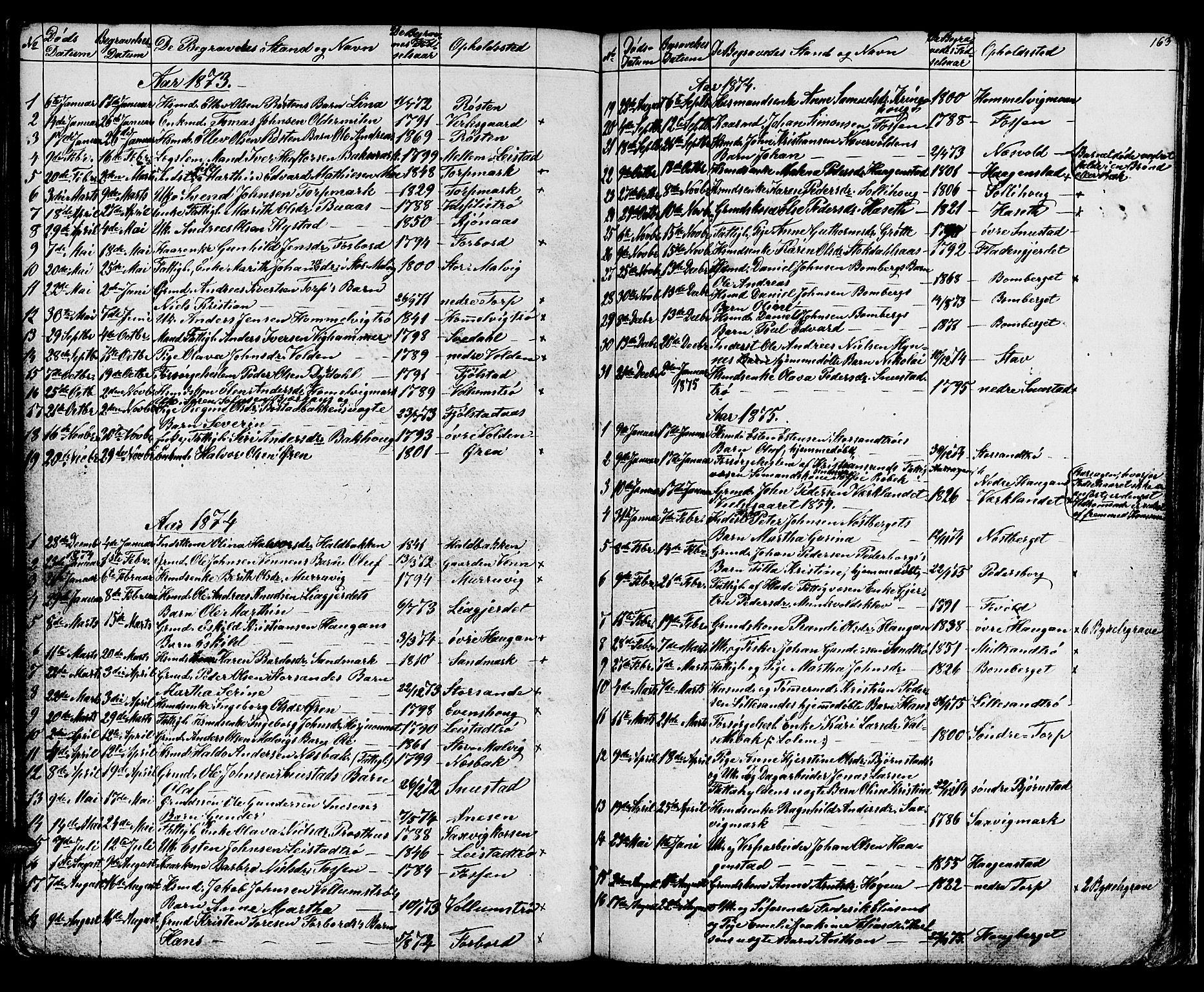 SAT, Ministerialprotokoller, klokkerbøker og fødselsregistre - Sør-Trøndelag, 616/L0422: Klokkerbok nr. 616C05, 1850-1888, s. 163