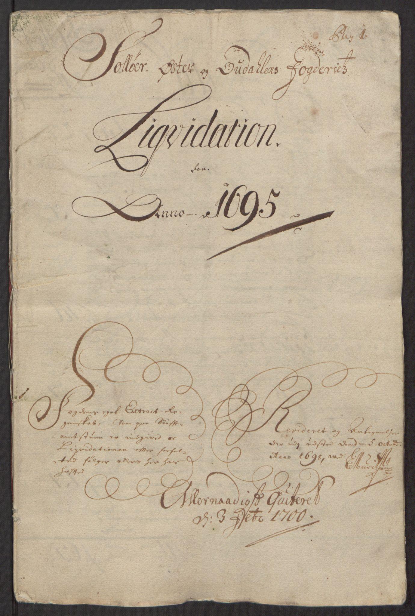 RA, Rentekammeret inntil 1814, Reviderte regnskaper, Fogderegnskap, R13/L0833: Fogderegnskap Solør, Odal og Østerdal, 1695, s. 9