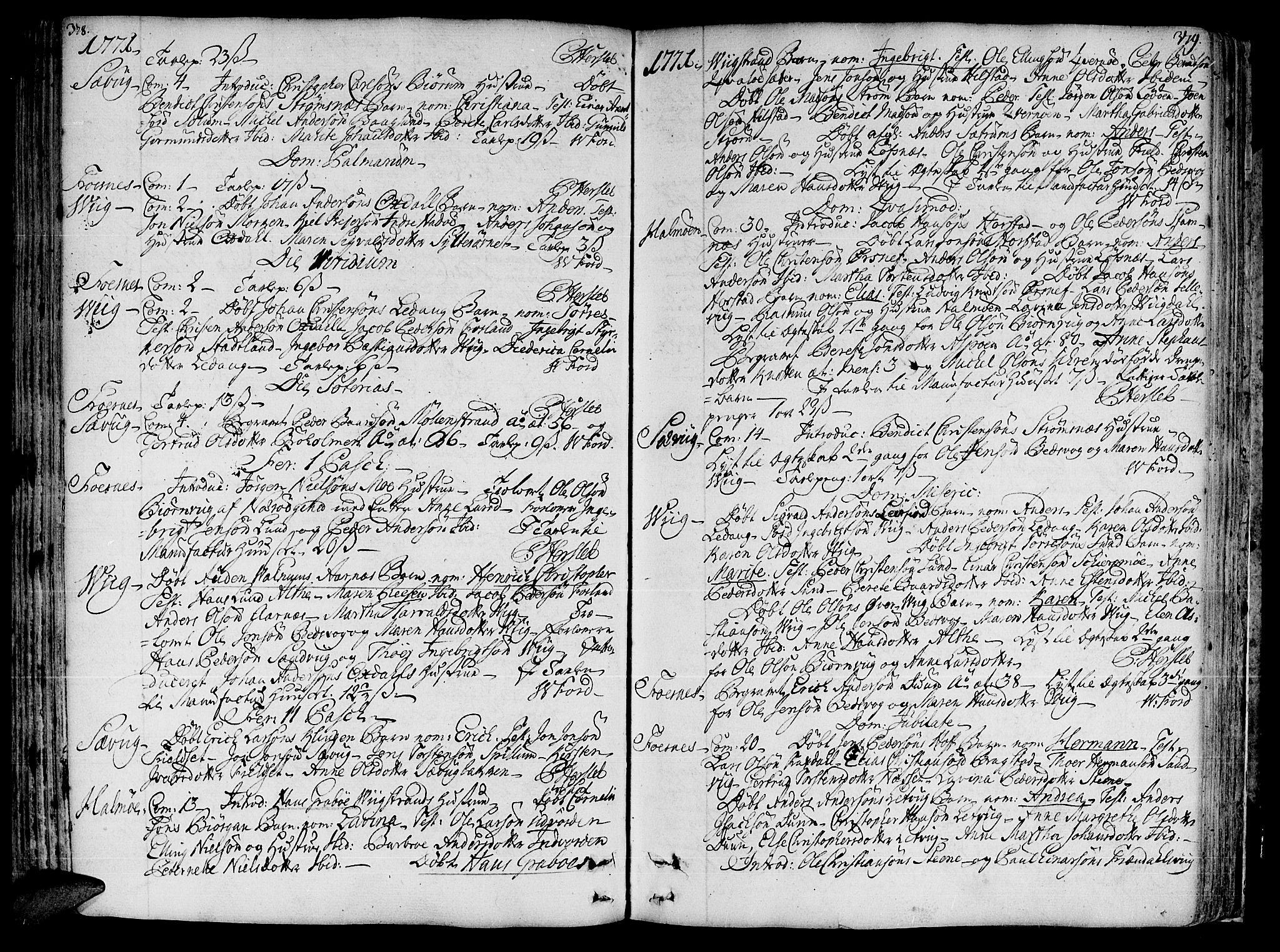 SAT, Ministerialprotokoller, klokkerbøker og fødselsregistre - Nord-Trøndelag, 773/L0607: Ministerialbok nr. 773A01, 1751-1783, s. 378-379