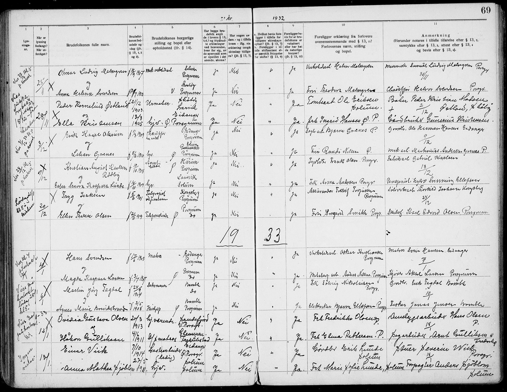 SAKO, Porsgrunn kirkebøker , H/Ha/L0001: Lysningsprotokoll nr. 1, 1919-1937, s. 69