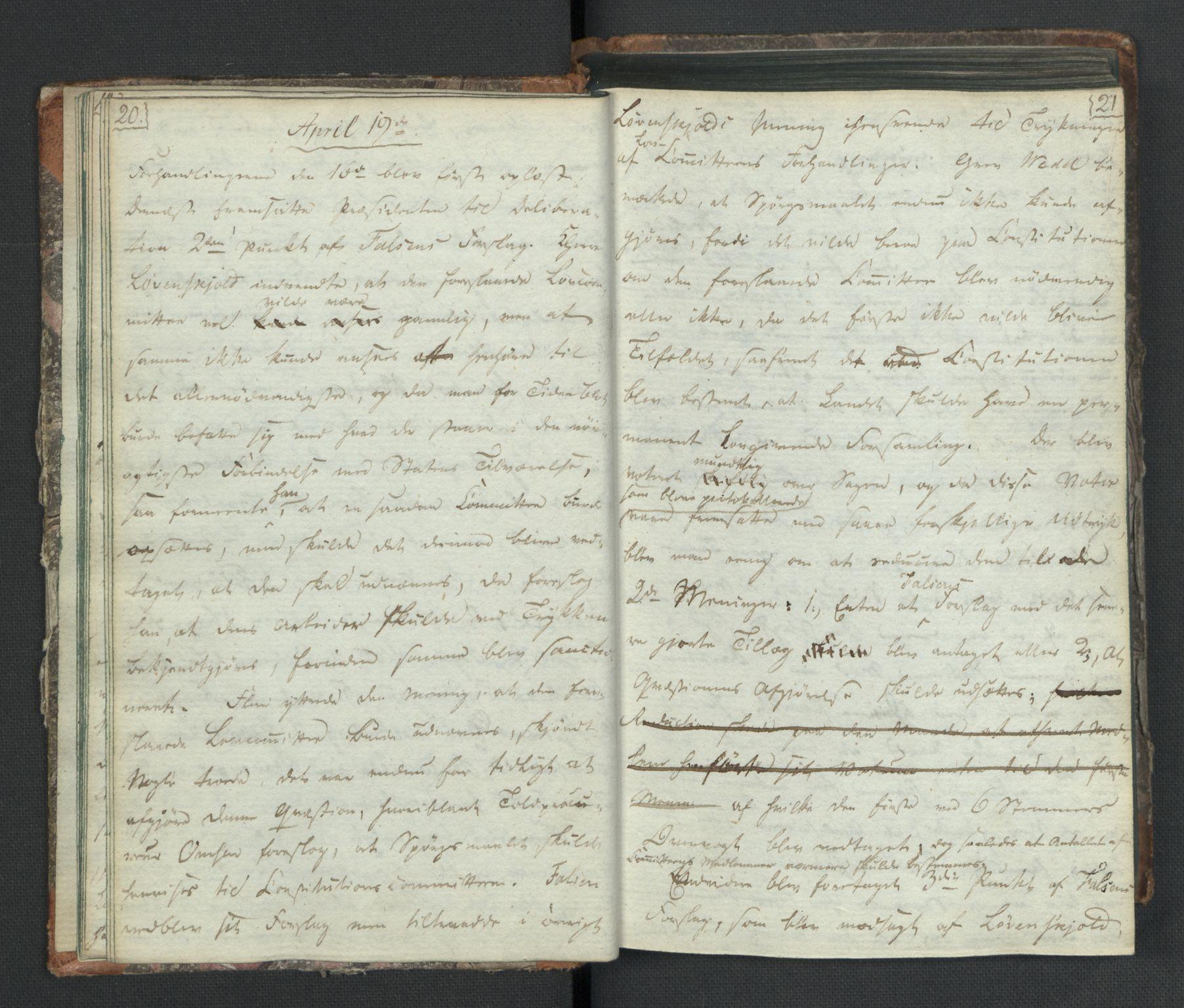 RA, Manuskriptsamlingen, H/L0021: Byfogd Gregers Winther Wulfbergs dagbok under Riksforsamlingen på Eidsvoll, 1814, s. 20-21