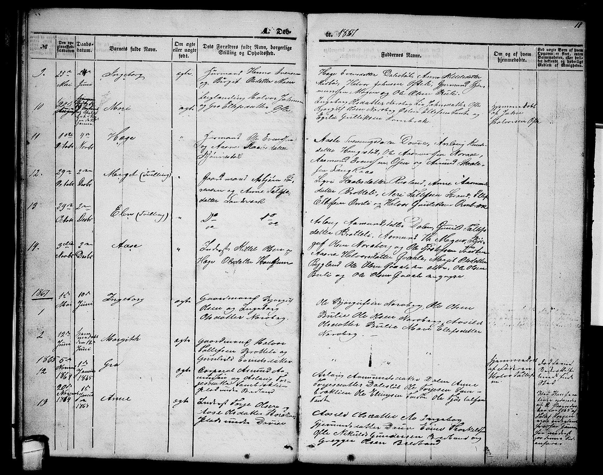 SAKO, Lårdal kirkebøker, G/Gc/L0002: Klokkerbok nr. III 2, 1852-1877, s. 18
