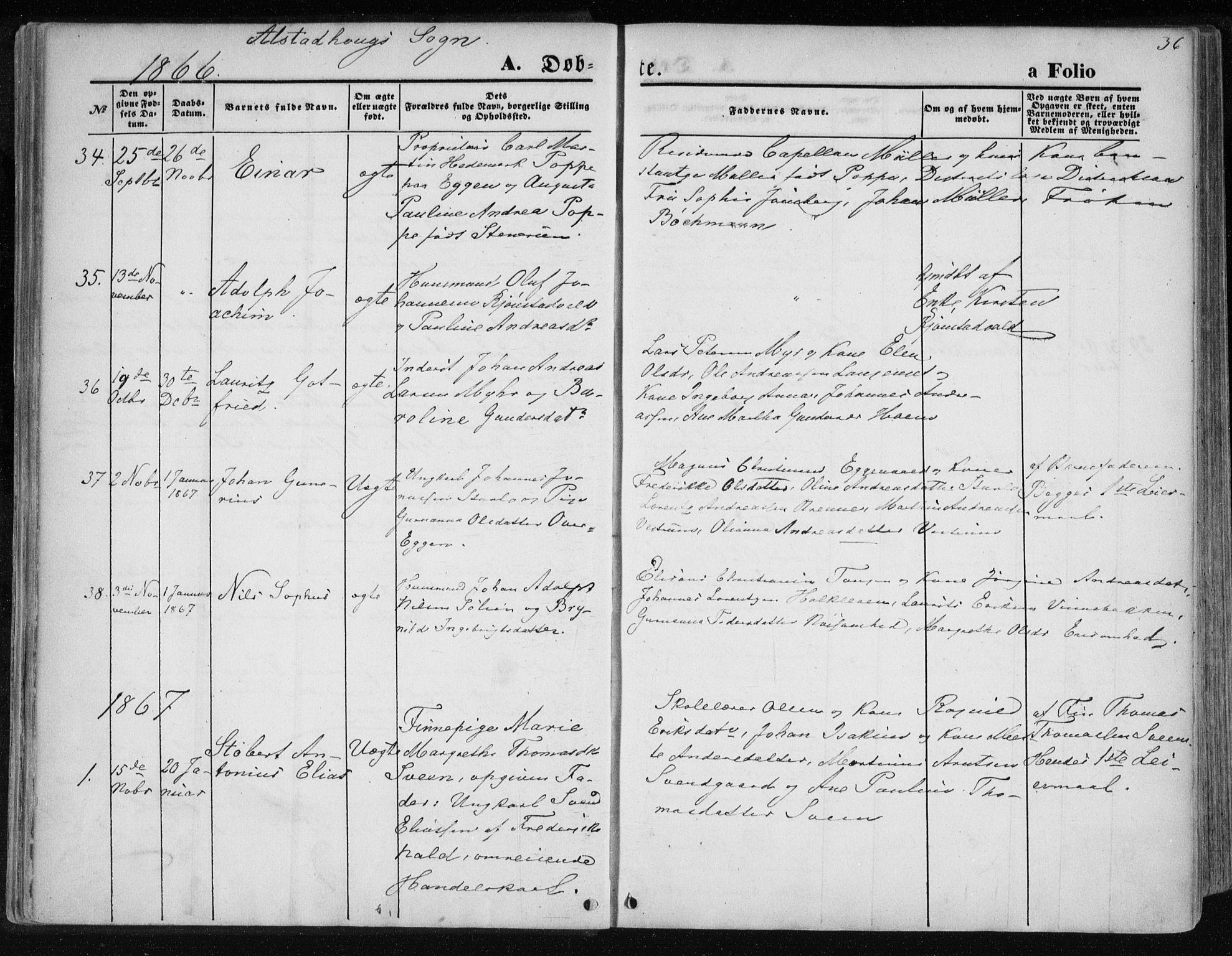 SAT, Ministerialprotokoller, klokkerbøker og fødselsregistre - Nord-Trøndelag, 717/L0157: Ministerialbok nr. 717A08 /1, 1863-1877, s. 36