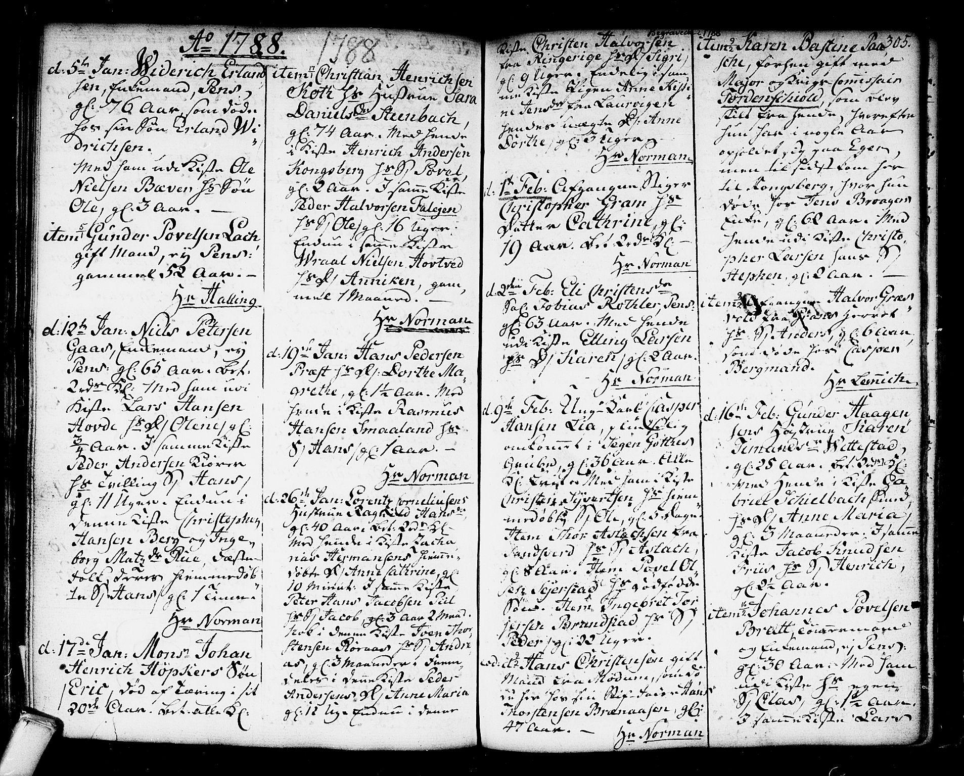 SAKO, Kongsberg kirkebøker, F/Fa/L0006: Ministerialbok nr. I 6, 1783-1797, s. 305