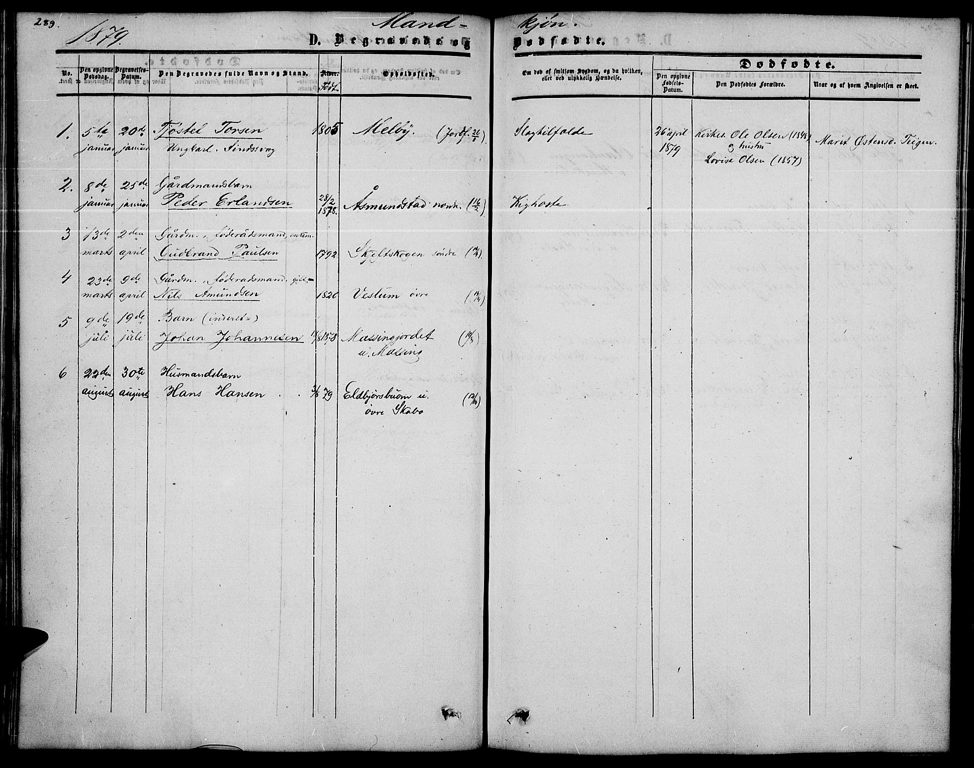 SAH, Nord-Fron prestekontor, Klokkerbok nr. 2, 1851-1883, s. 289